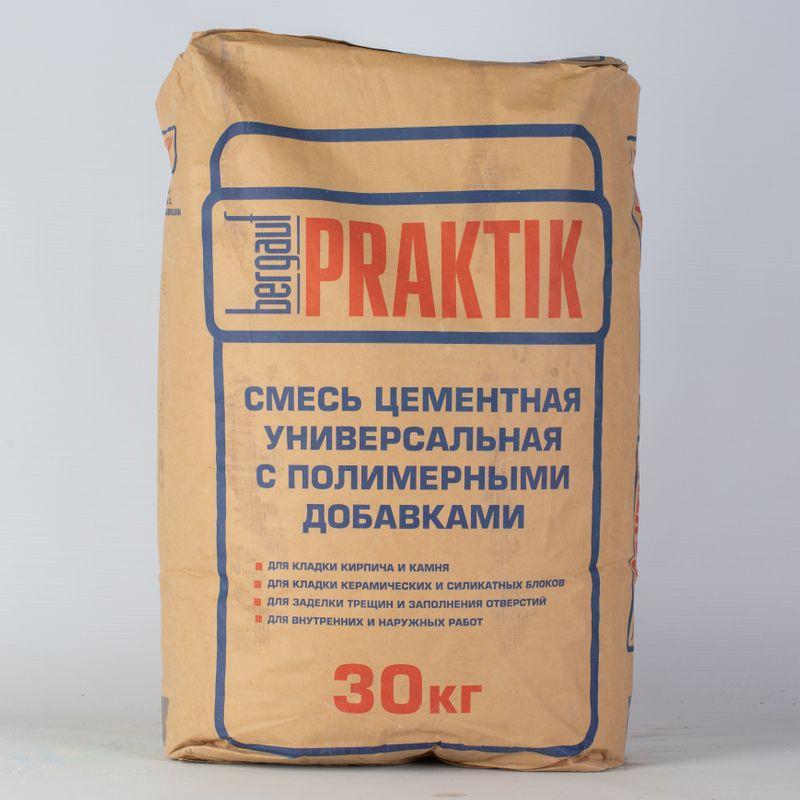Кладочная смесь Praktik М100, 30 кгКладочная смесь Praktik М100, 30 кг<br><br>Сухая смесь на основе серого цемента, содержит специальные синтетические смолы&amp;nbsp;и химические добавки,<br><br>придающие продукту после разведения водой эластичность и высокую адгезию на традиционных строительных основаниях.<br><br>НАЗНАЧЕНИЕ:<br><br>Для выполнения общестроительных работ, кладки керамического и силикатного кирпича, керамических, силикатных,<br><br>природных и бетонных блоков, а также камней;<br>Подходит для заделки трещин, заполнения отверстий и т.п.;<br>Для внутренних и наружных работ;<br>Для ручного нанесения и для работ с применением механизмов.<br><br>ИНСТРУКЦИЯ ПО ПРИМЕНЕНИЮ:<br><br>Подготовка основания:<br><br>Поверхность должна быть очищена от пыли, грязи, масляных пятен &amp;ndash; всего, что может ухудшить сцепление материала.<br><br>При необходимости за 5-10 минут смочить основание водой.<br><br>Приготовление раствора:<br><br>Затворить смесь водой (от +10 0С до +25 0С) в пропорции:<br>&amp;mdash; на1 кг смеси &amp;ndash; 0,17 &amp;ndash;0,19 л воды;<br>&amp;mdash; на30 кг смеси &amp;ndash; 5,1 &amp;ndash;5,7 л воды.<br>Перемешать до получения однородной массы. Подождать 5 минут, пока закончатся все химические реакции. Повторно перемешать.<br><br>Нанесение:<br><br>Готовый раствор равномерно нанести мастерком на горизонтальную поверхность уже приклеенных кирпичей или блоков<br><br>и на вертикальную поверхность прикрепляемого блока/кирпича.<br><br>Постучать по прикрепляемому элементу для равномерного распределения раствора.<br><br>Удалить излишки раствора мастерком. В случае попадания на лицевую поверхность, удалить раствор влажной губкой.<br><br>При необходимости через 15-20 минут обработать швы. Рекомендуемая толщина шва &amp;ndash;8-12мм.<br><br>МЕРЫ ПРЕДОСТОРОЖНОСТИ:<br><br>При работе необходимо использовать резиновые перчатки;<br>Избегать контакта с кожей и глазами;<br>При попадании в глаза промыть большим количеством воды;<br>Беречь от детей<br><br>ИНСТР