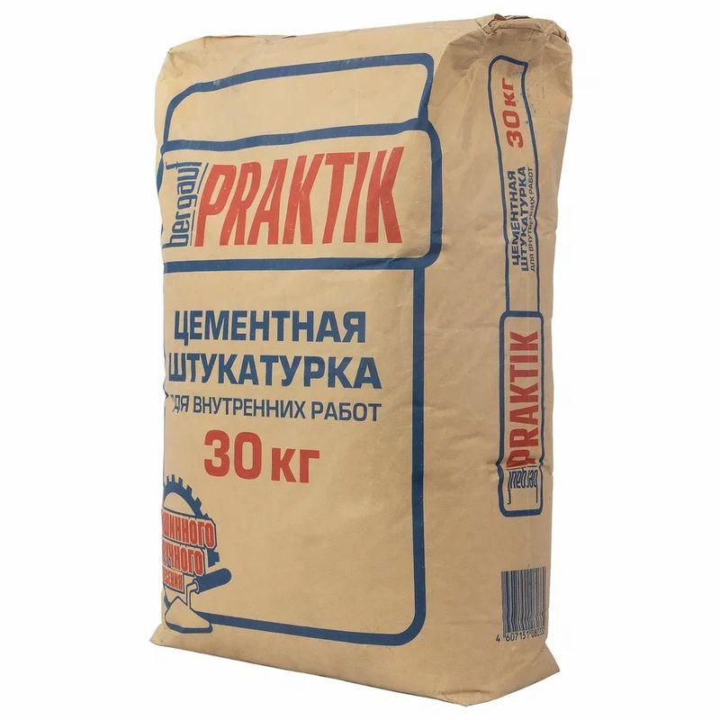 Штукатурка Praktik цементная для внутренних работ, 30 кгШтукатурка Praktik цементная для внутр. работ, 30 кг<br><br>Сухая смесь на цементной основе, содержит фракционированный песок, минеральные добавки и модифицирующие полимерные добавки.&amp;nbsp;<br><br>НАЗНАЧЕНИЕ:<br><br>Для выравнивания стен;<br><br>Для работ по кирпичной кладке, бетону (старше 6 месяцев), железобетону, газобетону, старым цементным и цементно-песчаным штукатуркам;<br><br>Для работы в помещениях с нормальной и повышенной влажностью;<br><br>Для внутренних работ;<br><br>Для машинного нанесения.<br><br>ПРЕИМУЩЕСТВА:<br><br>Доступность;<br><br>Прочность;<br><br>Низкое влагопоглощение;<br><br>Высокий уровень адгезии.&amp;nbsp;<br><br>ИНСТРУКЦИЯ ПО ПРИМЕНЕНИЮ:&amp;nbsp;<br><br>Подготовка основания:<br><br>Основание должно быть очищено от пыли, грязи, масляных пятен &amp;ndash; всего, что может ухудшить сцепление материала. Подготовленную поверхность необходимо обработать грунтовкой.<br><br>Приготовление раствора:<br><br>При машинном нанесении:<br><br>Засыпать сухую смесь в приемный бункер.<br><br>Установить начальный расход воды*.<br><br>Довести консистенцию раствора до необходимой путем регулирования уровня расхода воды.<br><br>Уровень расхода воды зависит от марки и модели машины.<br><br>Выполнение работ:<br><br>Нанести основной слой необходимой толщины, но не превышающей 25 мм. Снять излишки правилом, выровнять поверхность. Окончательно затереть поверхность можно уже через 5 часов (сроки приведены из расчета толщины наносимого слоя 25 мм).<br><br>МЕРЫ ПРЕДОСТОРОЖНОСТИ:<br><br>Не допускайте попадания материала в глаза и дыхательные пути;<br><br>При работе необходимо использовать резиновые перчатки;<br><br>Избегать контакта с кожей и глазами;<br><br>При попадании в глаза промыть большим количеством воды;<br><br>Беречь от детей.<br><br>&amp;nbsp;<br>Бренд: Bergauf; Название: Praktik легкая; Основа смеси: Цементная; Тип работ: Для внутренних работ; Тип основания: Цемент; Тип основания: Бетон; Тип основ