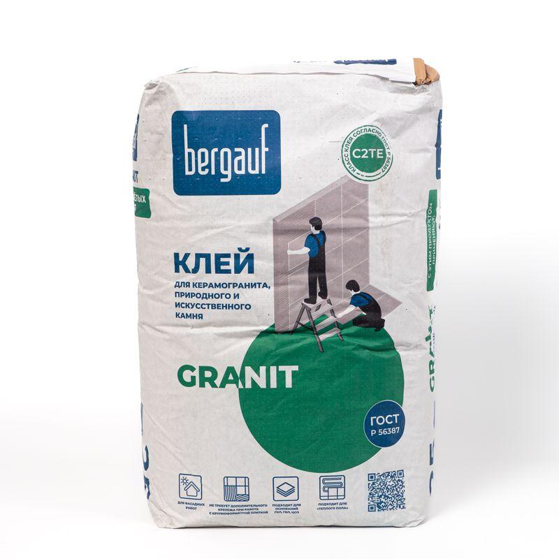 Клей для плитки Bergauf Keramik Granit, 25 кгКлей для плитки Bergauf Keramik Granit, 25 кг<br><br>Клей на цементной основе для керамической плитки, в упаковке по 25 кг, для применения в помещениях с высоким уровнем влажности и для фасадных работ.<br><br>НАЗНАЧЕНИЕ:<br><br>Для проведения облицовочных работ всеми видами искусственного и природного камня;<br><br>Для крепления керамики, кафеля, тяжеловесного керамогранита малого и крупного формата (более 900 кв.см.) на вертикальные и горизонтальные поверхности;<br><br>Укладка на бетонные и цементные основания, ячеистый бетон, гидроизоляционные покрытия, цементно-известковые штукатурки и шпаклёвки, гипсоволокнистые и гипсокартонные листы;<br><br>Использования при обустройстве подогреваемых полов;<br><br>Облицовка бассейнов и ванных комнат;<br><br>Применение в наружных работах (на балконе, фасаде и цоколе);<br><br>ПРЕИМУЩЕСТВА:<br><br>Прочное сцепление с покрытием: не требует дополнительного крепежа при работах с крупноформатной плиткой;<br><br>Небольшой расход приготовленной массы;<br><br>Длительный период жизнеспособности смеси (около 3 часов);<br><br>Водостойкость и хорошая теплопроводность: для применения в обустройстве &amp;laquo;теплых полов&amp;raquo;.<br><br>Время коррекции плитки 25 минут;<br><br>Отсутствие сползания облицовки;<br><br>Способность сцепляться абсолютно с любыми типами оснований;<br><br>Большой температурный диапазон проведения работ (от +5&amp;deg;С до +25&amp;deg;С);<br><br>Эксплуатация после затвердевания возможна в диапазоне температур от -50&amp;deg;С до +70&amp;deg;С;<br><br>РЕКОМЕНДАЦИИ<br><br>Не допускайте попадания сухой смеси в органы зрения и дыхания.<br><br>Перед работой с составом выровняйте, очистите и загрунтуйте основу.<br><br>За один день до укладывания кафеля замажьте мелкие неровности этим же клеем.<br><br>Срок годности смеси сокращается в условиях сквозняка, плохо подготовленной поверхности, пониженной влажности или повышенной температуры.<br><br>Облицовку системы обогреваемого п