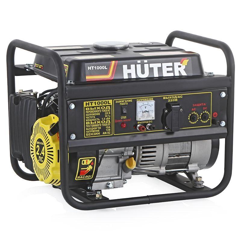 Генератор бензиновый HT1000L HuterГенератор бензиновый HT1000L Huter<br><br>Переносной бензиновый генератор &amp;nbsp;постоянного и переменного тока<br><br>НАЗНАЧЕНИЕ:<br><br>Источник постоянного или временного (аварийного, резервного) электроснабжения загородных коттеджей, дач;<br><br>Использование во время строительных и ремонтных работ (подключение электроинструментов к генератору).<br><br>ПРЕИМУЩЕСТВА:<br><br>Двигатель внутреннего сгорания Huter 152F &amp;nbsp;вырабатывает 220В переменного тока, &amp;nbsp;12В постоянного тока, номинальная мощность 1кВт;<br><br>В качестве топлива используется бензин АИ92, АИ95 (при подключении специальной системы питания возможна работа на бытовом сжиженном газе &amp;ndash; пропане, пропан-бутане). Объем топливного бака 4,8л (без дозаправки генератор может проработать до 8 часов);<br><br>Охлаждение двигателя происходит воздушным путем (возможность работы при температуре от -20&amp;deg;С до 40&amp;deg;С);<br><br>Удобство в эксплуатации (Небольшой вес &amp;ndash; 28кг, позволяет перемещать генератор без каких-либо транспортных средств. Трубчатая рама защищает корпус от механических повреждений. Установочная площадка в нижней части позволяет генератору &amp;nbsp;работать на рыхлом грунте или песке. Интуитивно понятное управление и индикация &amp;ndash; на панели размещен вольметр и световые индикаторы уровня топлива и масла). &amp;nbsp;&amp;nbsp;<br><br>РЕКОМЕНДАЦИИ <br><br>Общие рекомендации:<br><br>Ознакомиться с техническими характеристиками, &amp;nbsp;инструкцией по эксплуатации &amp;nbsp;&amp;nbsp;и техническому обслуживанию переносного бензинового генератора Huter HT1000L;<br><br>Хранить в закрытом от агрессивной внешней среды, солнца, осадков и хорошо проветриваемом &amp;nbsp;помещении, при температуре выше 0&amp;deg;С и относительной влажности не более 80%. Не допускать к месту хранения детей и животных.<br><br>&amp;nbsp;Рекомендации по работе:<br><br>Перед первым пуском залить масло (использовать масло в соответствии с сезо