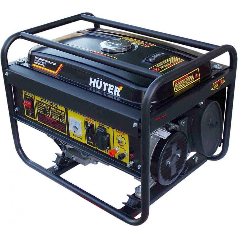 Генератор бензиновый DY4000L HuterГенератор&amp;nbsp;бензиновый&amp;nbsp;HUTER&amp;nbsp;DY&amp;nbsp;4000&amp;nbsp;L<br><br>Переносной&amp;nbsp;однофазный&amp;nbsp;электрогенератор&amp;nbsp;для&amp;nbsp;автономного&amp;nbsp;энергообеспечения&amp;nbsp;бытовых&amp;nbsp;устройств&amp;nbsp;суммарной&amp;nbsp;мощностью&amp;nbsp;<br><br>до&amp;nbsp;3&amp;nbsp;кВт,&amp;nbsp;для&amp;nbsp;использования&amp;nbsp;в&amp;nbsp;частных&amp;nbsp;коттеджах,&amp;nbsp;мастерских&amp;nbsp;и&amp;nbsp;на&amp;nbsp;строительных&amp;nbsp;площадках.<br><br>НАЗНАЧЕНИЕ:<br><br>Запасный&amp;nbsp;источник&amp;nbsp;электропитания&amp;nbsp;бытовых&amp;nbsp;приборов&amp;nbsp;в&amp;nbsp;загородных&amp;nbsp;домах&amp;nbsp;и&amp;nbsp;коттеджах;<br>Использование&amp;nbsp;в&amp;nbsp;период&amp;nbsp;строительных&amp;nbsp;и&amp;nbsp;ремонтных&amp;nbsp;работ&amp;nbsp;(подключение&amp;nbsp;электроинструмента&amp;nbsp;к&amp;nbsp;генератору).<br><br>ПРЕИМУЩЕСТВА:<br><br>Мобильность&amp;nbsp;(большие&amp;nbsp;колеса&amp;nbsp;для&amp;nbsp;легкого&amp;nbsp;перемещения&amp;nbsp;прибора,&amp;nbsp;вес&amp;nbsp;45&amp;nbsp;кг,&amp;nbsp;складные&amp;nbsp;ручки&amp;nbsp;для&amp;nbsp;транспортировки);<br>Длительная&amp;nbsp;бесперебойная&amp;nbsp;работа&amp;nbsp;(до&amp;nbsp;6&amp;nbsp;часов)&amp;nbsp;благодаря&amp;nbsp;ёмкости&amp;nbsp;бака&amp;nbsp;(15&amp;nbsp;л);<br>Экономичное&amp;nbsp;потребление&amp;nbsp;топлива&amp;nbsp;(395&amp;nbsp;г/кВтч);<br>Легкий&amp;nbsp;запуск&amp;nbsp;(ручной&amp;nbsp;стартер);<br>Электронный&amp;nbsp;регулятор&amp;nbsp;стабилизации&amp;nbsp;напряжения;<br>Синхронный&amp;nbsp;щеточный&amp;nbsp;альтернатор&amp;nbsp;выдерживает&amp;nbsp;большие&amp;nbsp;нагрузки;<br>Сниженный&amp;nbsp;уровень&amp;nbsp;шума&amp;nbsp;(глушитель)&amp;nbsp;&amp;nbsp;и&amp;nbsp;более&amp;nbsp;чистый&amp;nbsp;выхлоп&amp;nbsp;(благодаря&amp;nbsp;4хтактному&amp;nbsp;двигателю);<br>Система&amp;nbsp;воздушного&amp;nbsp;охлаждения&amp;nbsp;дает&amp;nbsp;возможность&amp;nbsp;использовать&amp;nbsp;прибор&amp;nbsp;при&