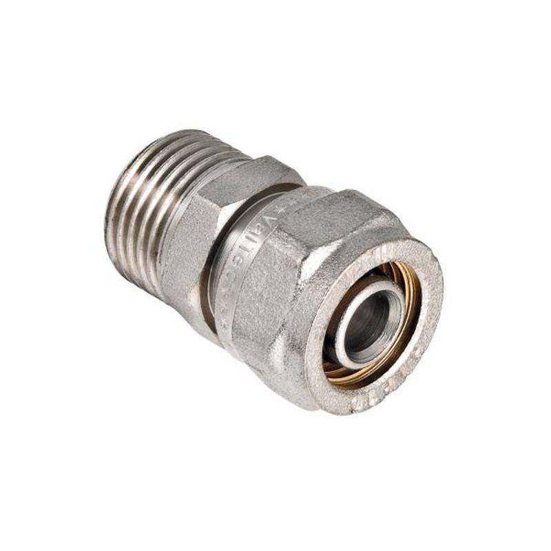 Муфта переходная VALTEC 20х1/2 НР<br>Диаметр: 20 мм; Диаметр резьбы: 1/2 ; Тип резьбы: НР; Тип монтажа: Обжим (цанга)/резьба; Максимальная температура рабочей среды: + 120 °С; Материал: Латунь; Совместимость: Для МП трубопроводов Valtec; Бренд: Valtec; Страна производитель: Италия;