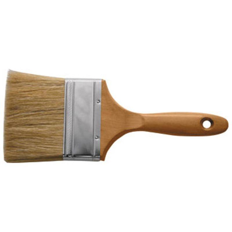 Кисть флейцевая Профи, натур.светлая щетина, деревянная ручка 2 (50 мм), FIT HQКисть флейцевая Профи, натуральная светлая щетина, деревянная ручка 2 (50 мм), Fit Hq<br><br>Кисть флейцевая Fit Hq Профи с деревянной &amp;nbsp;ручкой и натуральным ворсом &amp;nbsp;для плоских и декоративных поверхностей. &amp;nbsp;Нанесение всех видов эмалей, лаков и краски. Ширина пучка 50 мм.<br><br>НАЗНАЧЕНИЕ:<br><br>Покраска внутри и снаружи помещения материалов и поверхностей средних размеров (плинтуса, оконная рама, перила).<br><br>Нанесение рисунков трафарета на различные поверхности.<br><br>Декоративная роспись материалов.<br><br>ПРЕИМУЩЕСТВА:<br><br>Вид кисти &amp;ndash; флейцевая (нанесение ровных и тонких мазков &amp;ndash; экономия расхода ЛКМ, &amp;nbsp;покраска гладких поверхностей, идеальна для сложных декоративных решений);<br><br>Натуральный светлый ворс (ворс свиньи с расщепленными кончиками &amp;ndash; высокая укрывистость поверхности, &amp;nbsp;краска и лак аккуратно распределяются по материалу и хорошо удерживаются внутри ворса, &amp;nbsp;легко чистится, &amp;nbsp;не сыпется, мягкий и легкий);<br><br>Рукоятка (длина 265 мм, натуральное дерево &amp;ndash; специально обработанный материал не оставляет занозы при работе, прочность и малый вес, &amp;nbsp;удобно держать в руке, отверстие для подвешивания при хранении);<br><br>Долговечность (бандаж из стали &amp;ndash; стойкость к растворителям, прочное крепление ворса к рукоятке, антикоррозийная обработка).<br><br>РЕКОМЕНДАЦИИ:<br><br>Общие рекомендации:<br><br>Для работы с большим объемом поверхностей или материалов рекомендовано иметь несколько видов кистей (малая и большая) &amp;ndash; для облегчения и экономии времени при покрасочных работах.<br><br>Перед покраской флейцевой кистью кирпичной, &amp;nbsp;бетонной или деревянной поверхности &amp;ndash; стену обработать, очистить от грязи и прогрунтовать. Иначе ворс будет цепляться за неровности, и кисть быстро начнет &amp;laquo;лысеть&amp;raquo;.<br><br>Определить каче