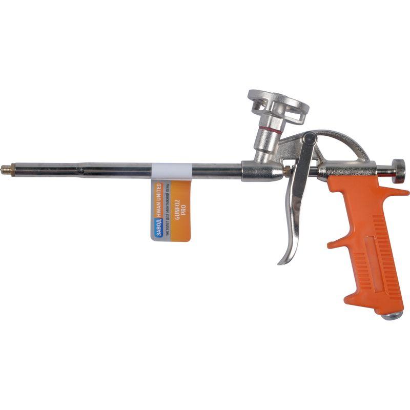 Пистолет для монтажной пены профиПистолет для монтажной пены, Профи<br><br>Пистолет для нанесения монтажной пены при выполнении монтажных работ для профессионального применения.<br><br>НАЗНАЧЕНИЕ:<br><br>Применяется для равномерного заполнения монтажной пеной пустот и полостей, образованных при монтаже окон, дверей.<br><br>ПРЕИМУЩЕСТВА:<br><br>Длина пистолета - 310мм;<br><br>Долговечность (алюминиевый корпус, спусковой механизм и посадочное место под баллон &amp;ndash; гарантирует долгий срок службы инструмента);<br><br>Удобство в эксплуатации (удобная пластиковая рукоятка &amp;ndash; для надежного захвата инструмента в процессе работы; облегченный корпус &amp;ndash; обеспечивает комфортную работу; возможность регулирования хода пускового механизма и тем самым корректировка скорости подачи пены при помощи специального вентиля &amp;ndash; позволяет точно и аккуратно наносить пену; подходит для использования различных баллонов; снижение расхода пены; простота и легкость в использовании).<br><br>РЕКОМЕНДАЦИИ:<br><br>Рекомендуется применять инструмент непосредственно по назначению;<br><br>В процессе работы периодически встряхивайте баллон;<br><br>После окончания монтажных работ, необходимо очистить пистолет от остатков пены специальным очистителем;<br><br>Если после выполнения пена в баллоне израсходована не полностью, рекомендуется не снимать баллон и пистолета, чтобы избежать засыхания пены;<br><br>Храните изделие в сухом месте, чтобы избежать коррозии инструмента.<br>