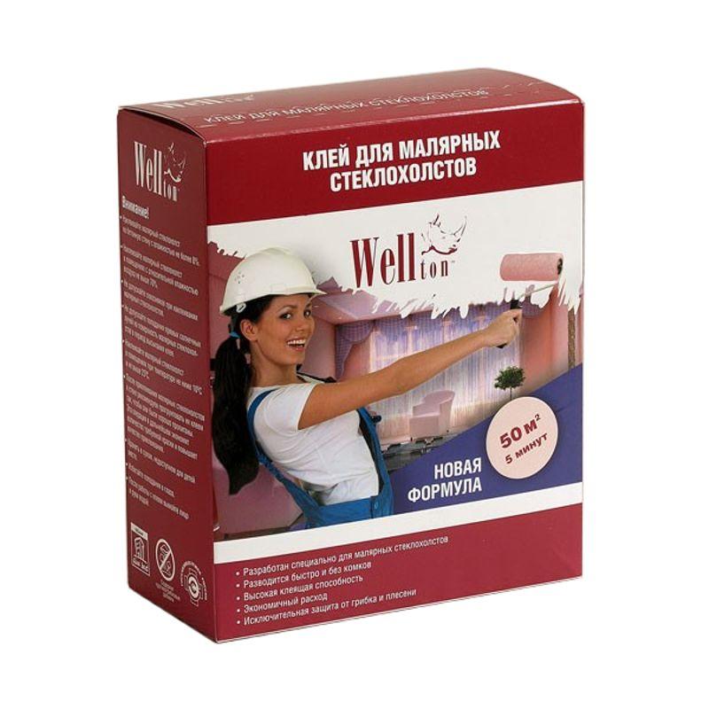 Сухой клей Wellton для малярных стеклохолстов 300 г.<br>Бренд: Wellton; Вес: 300 г; Цвет: Белый; Область применения: Для стеклообоев; Расход: 50 м?; Время приготовления: 5 мин; Страна производитель: Россия;