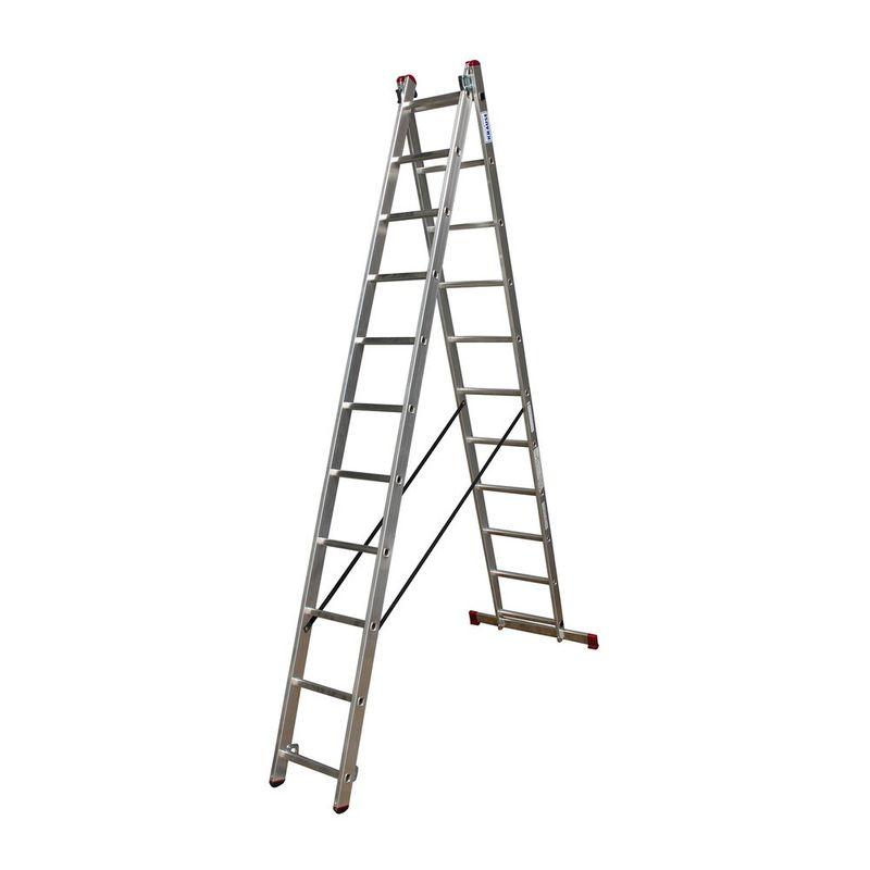Универсальная лестница Krause Corda, 619 смCORDA&amp;nbsp;Универсальная&amp;nbsp;лестница&amp;nbsp;2&amp;nbsp;х&amp;nbsp;11,&amp;nbsp;Krause<br><br>Выдвижная&amp;nbsp;двухсекционная&amp;nbsp;лестница&amp;nbsp;из&amp;nbsp;алюминия,&amp;nbsp;с&amp;nbsp;одиннадцатью&amp;nbsp;ступенями&amp;nbsp;в&amp;nbsp;каждой&amp;nbsp;секции,&amp;nbsp;может&amp;nbsp;быть&amp;nbsp;использована<br><br>в&amp;nbsp;качестве&amp;nbsp;стремянки&amp;nbsp;или&amp;nbsp;приставной&amp;nbsp;лестницы&amp;nbsp;с&amp;nbsp;рабочей&amp;nbsp;высотой&amp;nbsp;до&amp;nbsp;6,2&amp;nbsp;метра.<br><br>НАЗНАЧЕНИЕ:<br><br>Ремонтные,&amp;nbsp;монтажные&amp;nbsp;и&amp;nbsp;хозяйственные&amp;nbsp;работы&amp;nbsp;на&amp;nbsp;высоте;<br><br>ПРЕИМУЩЕСТВА:<br><br>Многофункциональность;<br>Алюминиевый&amp;nbsp;антикоррозийный&amp;nbsp;профиль;<br>Комбинированные&amp;nbsp;заглушки&amp;nbsp;(твердая&amp;nbsp;часть&amp;nbsp;обеспечивает&amp;nbsp;прочное&amp;nbsp;крепление&amp;nbsp;к&amp;nbsp;профилю,&amp;nbsp;мягкая&amp;nbsp;предотвращает&amp;nbsp;скольжение&amp;nbsp;<br><br>лестницы&amp;nbsp;и&amp;nbsp;не&amp;nbsp;оставляет&amp;nbsp;царапин&amp;nbsp;на&amp;nbsp;поверхности&amp;nbsp;пола);<br>Перекладины&amp;nbsp;с&amp;nbsp;рельефной&amp;nbsp;поверхностью&amp;nbsp;со&amp;nbsp;всех&amp;nbsp;сторон&amp;nbsp;(для&amp;nbsp;безопасности&amp;nbsp;при&amp;nbsp;подъеме&amp;nbsp;и&amp;nbsp;спуске);<br>Развальцованное&amp;nbsp;соединение&amp;nbsp;ступеней&amp;nbsp;с&amp;nbsp;боковым&amp;nbsp;профилем&amp;nbsp;(гарантирует&amp;nbsp;надежность&amp;nbsp;и&amp;nbsp;прочность&amp;nbsp;конструкции);<br>Прочные&amp;nbsp;крюки-защелки&amp;nbsp;с&amp;nbsp;самофиксацией&amp;nbsp;(предотвращают&amp;nbsp;случайное&amp;nbsp;выскальзывание&amp;nbsp;секций&amp;nbsp;во&amp;nbsp;время&amp;nbsp;работы&amp;nbsp;и&amp;nbsp;транспортировке);<br>Поперечная&amp;nbsp;траверса&amp;nbsp;на&amp;nbsp;двух&amp;nbsp;опорных&amp;nbsp;башмаках&amp;nbsp;(для&amp;nbsp;устойчивости&amp;nbsp;конструкции);<br>Крепкие&amp;nbsp;фиксирующие&amp;nbsp;ремни&amp;nbsp;не&