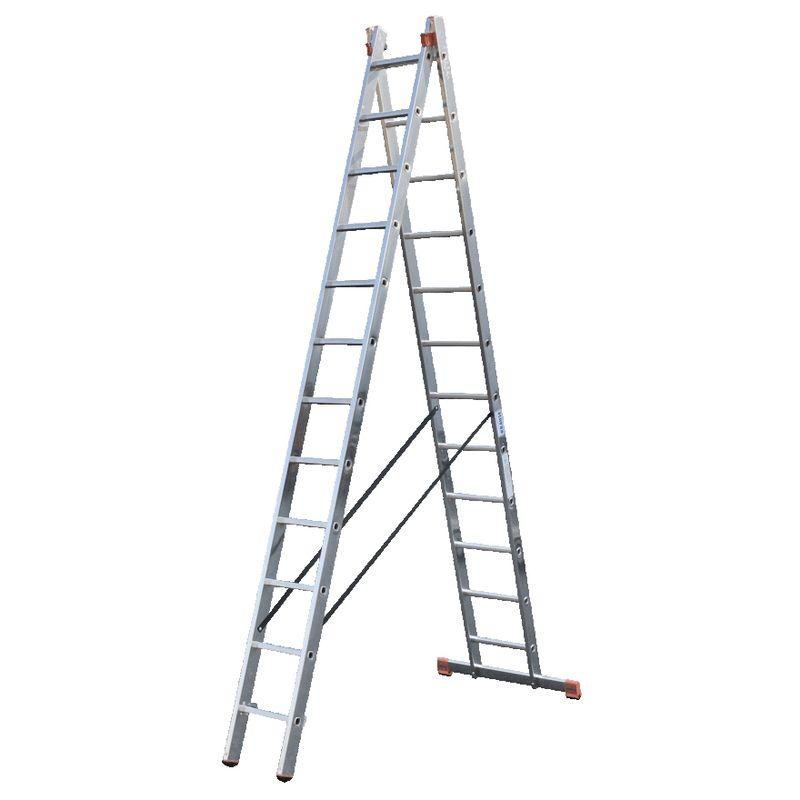 Универсальная лестница Krause Dubilo, 685 смDUBILO&amp;nbsp;Универсальная&amp;nbsp;лестница&amp;nbsp;из&amp;nbsp;двух&amp;nbsp;частей,&amp;nbsp;2&amp;nbsp;х&amp;nbsp;12,&amp;nbsp;Krause<br><br>Выдвижная&amp;nbsp;двухсекционная&amp;nbsp;лестница&amp;nbsp;из&amp;nbsp;алюминия,&amp;nbsp;имеет&amp;nbsp;двенадцать&amp;nbsp;ступеней&amp;nbsp;в&amp;nbsp;каждой&amp;nbsp;секции,&amp;nbsp;может&amp;nbsp;быть&amp;nbsp;использована&amp;nbsp;<br><br>в&amp;nbsp;качестве&amp;nbsp;стремянки&amp;nbsp;или&amp;nbsp;приставной&amp;nbsp;лестницы&amp;nbsp;с&amp;nbsp;рабочей&amp;nbsp;высотой&amp;nbsp;до&amp;nbsp;6,85&amp;nbsp;метра.<br><br>НАЗНАЧЕНИЕ:<br><br>Ремонтные,&amp;nbsp;монтажные&amp;nbsp;и&amp;nbsp;хозяйственные&amp;nbsp;работы&amp;nbsp;на&amp;nbsp;высоте;<br><br>ПРЕИМУЩЕСТВА:<br><br>Многофункциональность;<br>Алюминиевый&amp;nbsp;антикоррозийный&amp;nbsp;профиль;<br>Направляющие&amp;nbsp;из&amp;nbsp;стали&amp;nbsp;с&amp;nbsp;порошковым&amp;nbsp;покрытием&amp;nbsp;(для&amp;nbsp;легкого&amp;nbsp;выдвижения&amp;nbsp;секций);<br>Комбинированные&amp;nbsp;опорные&amp;nbsp;заглушки&amp;nbsp;(твердая&amp;nbsp;часть&amp;nbsp;обеспечивает&amp;nbsp;прочное&amp;nbsp;крепление&amp;nbsp;к&amp;nbsp;профилю,&amp;nbsp;мягкая&amp;nbsp;предотвращает&amp;nbsp;<br><br>скольжение&amp;nbsp;лестницы&amp;nbsp;и&amp;nbsp;не&amp;nbsp;оставляет&amp;nbsp;царапин&amp;nbsp;на&amp;nbsp;поверхности&amp;nbsp;пола);<br>Перекладины&amp;nbsp;с&amp;nbsp;рельефной&amp;nbsp;поверхностью&amp;nbsp;со&amp;nbsp;всех&amp;nbsp;сторон&amp;nbsp;(для&amp;nbsp;безопасности&amp;nbsp;при&amp;nbsp;подъеме&amp;nbsp;и&amp;nbsp;спуске);<br>Развальцованное&amp;nbsp;соединение&amp;nbsp;ступеней&amp;nbsp;с&amp;nbsp;боковым&amp;nbsp;профилем&amp;nbsp;(гарантирует&amp;nbsp;надежность&amp;nbsp;и&amp;nbsp;прочность&amp;nbsp;конструкции);<br>Прочные&amp;nbsp;крюки-защелки&amp;nbsp;с&amp;nbsp;самофиксацией&amp;nbsp;(предотвращают&amp;nbsp;случайное&amp;nbsp;выскальзывание&amp;nbsp;секций&amp;nbsp;во&amp;nbsp;время&amp;nbsp;работы&amp;nbsp;и&am