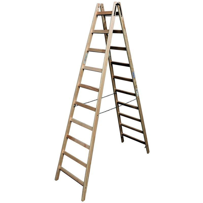 Двусторонняя лестница из дерева Krause, 405 смДвусторонняя лестница из дерева, 2х10 перекладин, KRAUSE<br><br>Двусторонняя деревянная лестница-стремянка Krause с перекладинами 2х10 для выполнения работ снаружи и внутри помещения на высоте до 4, 05.<br><br>НАЗНАЧЕНИЕ: <br><br>Проведение отделочных, ремонтных работ на строительных объектах, производствах, а также в частных домах;<br><br>Установка и снятие электрооборудования (светильников, настенных приборов, замена электропроводки);<br><br>Работы в саду;<br><br>В быту: на складе (достать товар с верхних стеллажей), в библиотеке (книги с верхней полки).<br><br>ПРЕИМУЩЕСТВА:<br><br>Перекладины с каждой стороны, уменьшают частоту перестановки лестницы, подниматься и спускаться можно с любой стороны;<br><br>Материал боковин &amp;ndash; высококачественная древесина без сучков;<br><br>Перекладины из твердой древесины;<br><br>Стальные шарниры прикручены многократно резьбовыми креплениями;<br><br>Стопорные крюки для безопасной транспортировки;<br><br>Соединение перекладин с боковинами &amp;laquo;в шип&amp;raquo;;<br><br>Не скользит по поверхности, не прогибается;<br><br>Допустимая нагрузка на одну перекладину 150-170кг;<br><br>Цепи исключают вариант раздвижения лестницы в процессе выполнения работ;<br><br>Масса 16,5кг - удобство хранения, транспортировки, перемещения с места на место (тяжелее алюминиевых, следовательно, устойчивее);<br><br>Конструкция покрыта раствором (смесью) защищающим древесину от гниения, воздействия грибков, жуков-короедов и других организмов (пропитка безвредна);<br><br>Деревянная лестница &amp;ndash; экологически безопасна.<br><br>РЕКОМЕНДАЦИИ:<br><br>Общие рекомендации:<br><br>Очищать влажной тканью, смоченной в мыльном растворе (не использовать агрессивные моющие средства).<br><br>Рекомендации по хранению:<br><br>Хранить в сухом, проветриваемом помещение;<br><br>МЕРЫ ПРЕДОСТОРОЖНОСТИ:<br><br>Контролируйте нагрузку;<br><br>Не работать с двух верхних ступенек, если стремянка не имеет перил или упоров