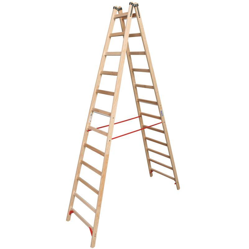 Двусторонняя лестница из дерева Krause, 455 см<br>Бренд: Krause; Серия: STABILO; Код производителя: 170149; Тип: Двусторонняя; Тип: Складная; Количество ступеней: 24; Материал: Дерево; Рабочая высота: 4,55  м; Страна производитель: Германия;