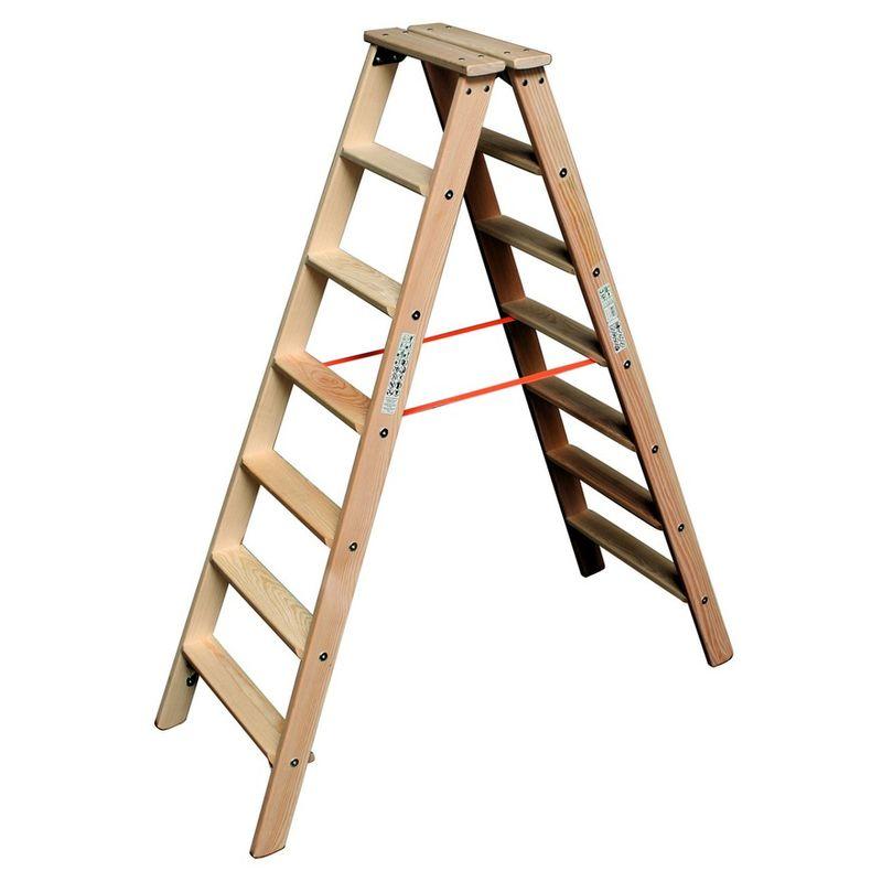 Двусторонняя лестница из дерева Krause, 310 смДвусторонняя лестница из дерева, 2х7 перекладин, KRAUSE<br><br>Двусторонняя деревянная лестница стремянка Krause со ступенями 2х7 для выполнения наружных и внутренних работ на высоте до 3,1м.<br><br>НАЗНАЧЕНИЕ: <br><br>Проведение отделочных, ремонтных, хозяйственно-бытовых работ;<br><br>Установка и снятие электрооборудования (светильников, настенных приборов, замена электропроводки);<br><br>Работы в доме и на дачном участке;<br><br>В быту: на складе (достать товар с верхних стеллажей), в библиотеке (книги с верхней полки).<br><br>ПРЕИМУЩЕСТВА:<br><br>Удобства работы &amp;ndash; профилированные ступени шириной 80мм, которые кроме этого добавляют жесткость конструкции;<br><br>Ступени с каждой стороны, уменьшают частоту перестановки лестницы, подниматься и спускаться можно с любой стороны;<br><br>Верхняя площадка для размещения материалов, инструмента;<br><br>Боковины из высококачественной древесины без сучков;<br><br>Стальные шарниры прикручены многократно резьбовыми креплениями;<br><br>Усиление жесткости конструкции с помощью четырех упоров;<br><br>Стопорные крюки для безопасной транспортировки;<br><br>Соединение перекладин с боковинами &amp;laquo;в шип&amp;raquo;;<br><br>Не скользит по поверхности, не прогибается;<br><br>Допустимая нагрузка на одну перекладину 150кг;<br><br>Ремни, устойчивые к атмосферным воздействиям, не допускают раздвижения стремянки;<br><br>Масса 12,5кг - тяжелее алюминиевых такой же высоты, следовательно, устойчивее;<br><br>Конструкция покрыта раствором (смесью) защищающим древесину от гниения, воздействия грибков и других организмов (пропитка безвредна);<br><br>Прочность, долговечность - ступени из твердой древесины (дуб, клен, лиственница);<br><br>Деревянная лестница &amp;ndash; экологически безопасна.<br><br>РЕКОМЕНДАЦИИ:<br><br>Общие рекомендации:<br><br>Очищать влажной тканью, смоченной в мыльном растворе (не использовать агрессивные моющие средства).<br><br>Рекомендации по хранению:<br><br>Хра