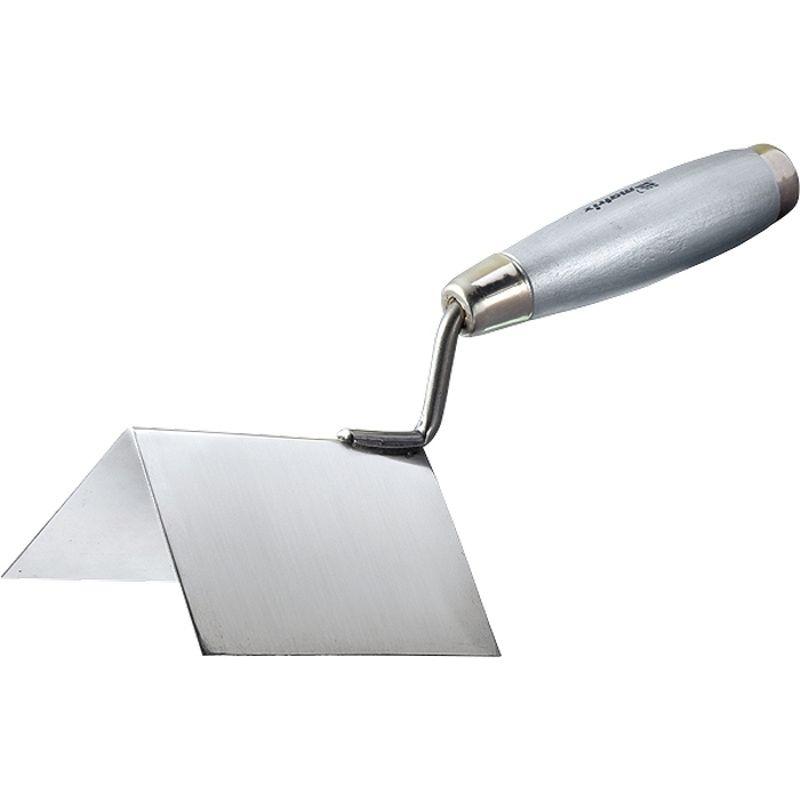 Мастерок из нерж. стали, 80 х 60 х 60 мм, для внешних углов, деревянная ручка// MATRIX