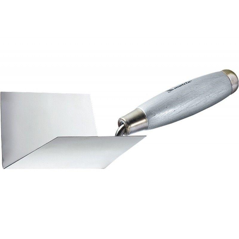 Мастерок из нерж. стали, 80 х 60 х 60 мм, для внутренних углов, деревянная ручка// MATRIX