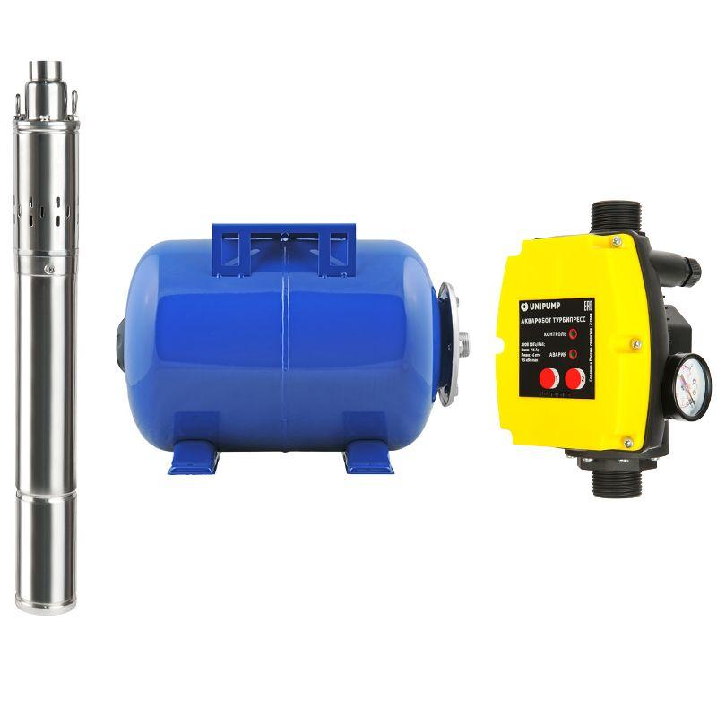 Насосная станция Unipump АКВАРОБОТ ECO VINT 3 - 50<br>Вид: Погружной; Тип: Скваженный; Рабочая среда: Чистая вода; Производительность: Q max 3 м?/час; Глубина погружения: 15 м; Высота подъема воды: 105 м; Минимальная температура воды: +1 С°; Максимальная температура воды: + 35 °С; Мощность: 750 Вт; Напряжение: 220/230в В; Диаметр насоса: 73 ; Присоединительный диаметр: 1 ; Длина кабеля: 30 м; Класс изоляции: B; Бренд: Unipump; Страна производитель: Россия; Модель: Eco vint 3-50;