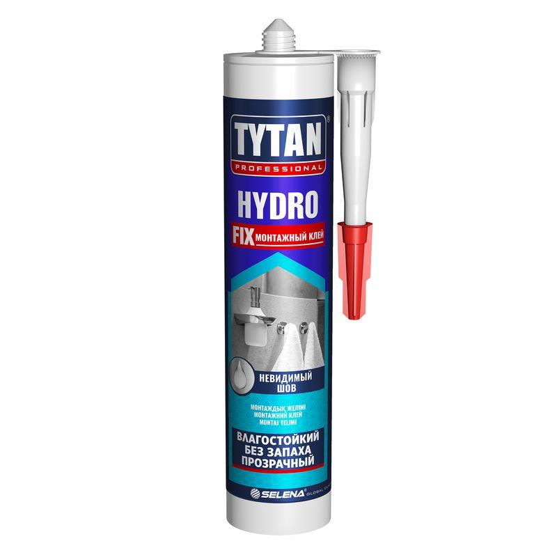 Клей монтажный Tytan Professional Hydro Fix 310млКлей монтажный Tytan professional hydro fix 310 мл.<br><br>Профессиональный клей для строительных, ремонтных и отделочных работ.<br><br>НАЗНАЧЕНИЕ:<br><br>Склеивание сверхпрочных (бетон, природный камень) и прочных (древесина, гипсокартон, пластмасса, керамика и пр.) поверхностей.<br><br>ПРЕИМУЩЕСТВА:<br><br>Долговечность (морозостойкий; устойчивый к воздействию влаги; эластичный шов; термостойкий);<br><br>Универсальность (возможно применять для внутренних и наружных работ в жилых домах и общественных зданиях, стен, потолка, пола; подходит для панелей, напольного покрытия, декоративного плинтуса и пр.; теплоизоляции и звукоизоляции; установки окон);<br><br>Безопасность (экологически чистый; не горит);<br><br>Удобство в использовании (объём картриджа &amp;ndash; 310 мл.; 12 штук в упаковке).<br><br>РЕКОМЕНДАЦИИ:<br><br>Общие рекомендации:<br><br>Не рекомендуется работать в присутствии посторонних лиц, детей и животных;<br><br>При работе пользоваться средствами индивидуальной защиты (перчатки, респиратор, очки, каска, нескользящая обувь), спецовкой;<br><br>Положение тела должно быть устойчивым, в рабочей зоне не должно быть посторонних предметов, которые могут привести к потере равновесия.<br><br>Рекомендации по хранению:<br><br>Хранить в сухом помещении, без доступа для детей, животных, посторонних лиц;<br><br>Беречь от резкого перепада температур, нагревания от внешних источников тепла. При переходе из холодного помещения в тёплое, дать клею время принять температуру окружающей среды.<br><br>Рекомендации по применению:<br><br>Наносить на сухую очищенную поверхность;<br><br>Использовать клей в течение 20 &amp;ndash; 30 минут;<br><br>Поверхность полностью твердеет через 72 часа после нанесения клея. Готова к эксплуатации.<br>Бренд: Tytan Professional; Название: HYDRO  FIX; Цвет: Бесцветный; Вес: 310 гр; Применение: Для стеновых панелей; Применение: Монтаж стеновых панелей; Применение: Склеивание стыков напольных покрыти