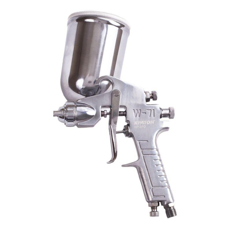 Краскопульт пневматический Кратон HP-01G<br>Бренд: Кратон; Модель: Hp-01g; Расположение бачка: Сверху; Тип соединения: Резьбовое; Диаметр сопла: 1,5 мм; Размер входного штуцера: 1/4 дюйма; Объем бачка: 0,4 л; Способ распыления краски: HP (высокое давление); Ширина окрасочного факела: 180-250 мм; Рабочее давление: 3-4 атм; Расход воздуха: 120-170 л/мин; Особые свойства: Регулировка ширины красочного факела; Особые свойства: Регулировка расхода краски; Особые свойства: Регулировка расхода воздуха; Комплектация: Щетка; Комплектация: Штуцер; Комплектация: Фильтр для ЛКМ; Комплектация: Бачок для ЛКМ; Комплектация: Ключ универсальный; Комплектация: Краскопульт; Вес: 1 кг;
