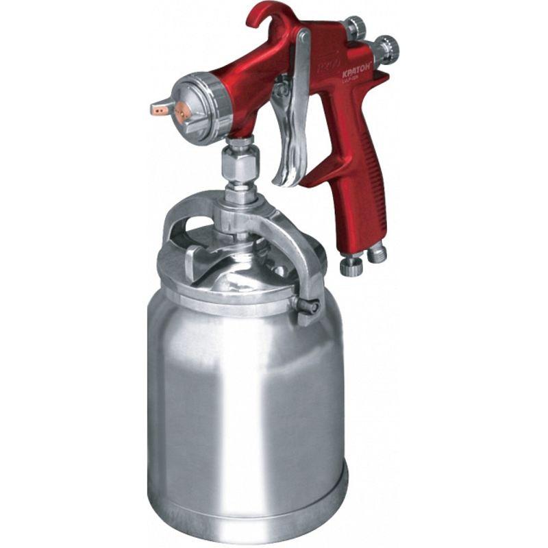 Краскопульт пневматический КРАТОН LVLP-02S<br>Бренд: Кратон; Модель: Lvlp-02s; Расположение бачка: Снизу; Тип соединения: Резьбовое; Диаметр сопла: 1,5 мм; Размер входного штуцера: 1/4 дюйма; Объем бачка: 1 л; Способ распыления краски: LVLP (низкое давление, небольшой объем); Ширина окрасочного факела: 180-280 мм; Рабочее давление: 2-3,5 атм; Расход воздуха: 85-110 л/мин; Особые свойства: Регулировка расхода воздуха; Комплектация: Штуцер; Комплектация: Бачок для ЛКМ; Комплектация: Ключ универсальный; Комплектация: Краскопульт; Комплектация: Щетка; Комплектация: Фильтр для ЛКМ; Вес: 1,1 кг;