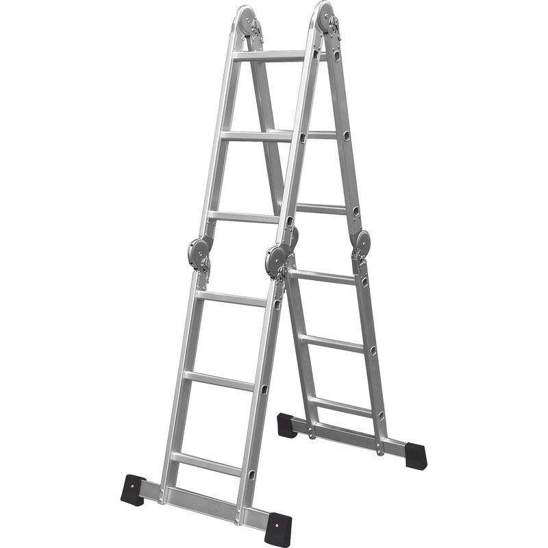 Четырехсекционная лестница Кратон, 472 см<br>Бренд: Кратон; Тип: Четырехсекционная; Количество ступеней: 13; Материал: Алюминий; Максимальная рабочая нагрузка: 150  кг; Рабочая высота: 4.72  м; Страна производитель: Россия; Вес: 12.45  кг;