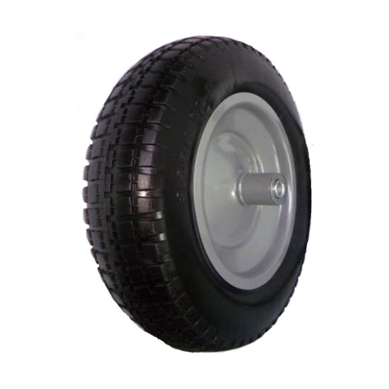 Колесо литое бескамерное полиуретановое 350 мм, d 20<br>Бренд: Викарт; Тип: Колесо; Нагрузка: 100 кг; Масса: 1800 г; Способ крепления колеса: На подшипнике; Материал колеса: Полиуретан; Материал камеры: Нет камеры; Материал диска колеса: Металл; Ширина: 70 мм; Внешний диаметр: 350 мм; Внутренний диаметр: 20 мм; Наличие камеры в колесе: Нет;