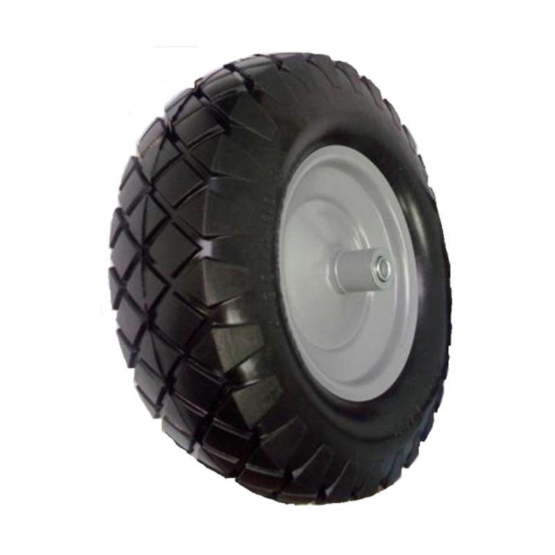 Колесо литое бескамерное полиуретановое 400 мм, d 12<br>Бренд: Викарт; Тип: Колесо; Нагрузка: 150 кг; Масса: 2200 г; Способ крепления колеса: На подшипнике; Материал колеса: Полиуретан; Материал камеры: Нет камеры; Материал диска колеса: Металл; Ширина: 80 мм; Внешний диаметр: 400 мм; Внутренний диаметр: 12 мм; Наличие камеры в колесе: Нет;