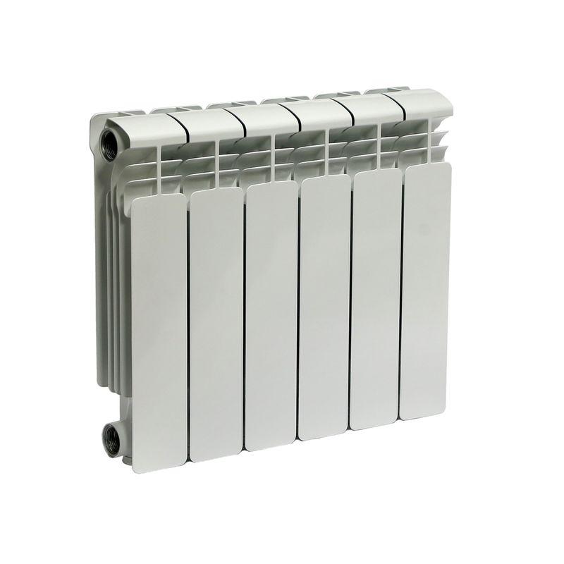 Радиатор алюминиевый RIFAR Alum 350 6 секций VLРадиатор алюминиевый RIFAR Alum 350-6 VL<br><br>Литой алюминиевый радиатор на 6 секций для использования в отопительных системах зданий. Использует нижний левый тип подключения.<br><br>НАЗНАЧЕНИЕ<br><br>Отопление помещений с влажностью не выше 75%;<br><br>Подходит для теплоносителя с водородным показателем 7-8 pH;<br><br>Установка в системе отопления многоквартирного дома со строгим контролем её работы и состава воды;<br><br>Установка в зданиях с автономной системой отопления (жилые дома, коттеджи, гаражи);<br><br>Проведение системы отопления с нуля;<br><br>Замена старых радиаторов.<br><br>ПРЕИМУЩЕСТВА<br><br>Высокое рабочее давление (20 атм ~ 2 МПа);<br><br>Секции малого объема (0.19 л) при тепловой мощности 834 Вт;<br><br>Вес 7,2 кг - легкий, удобно при монтаже;<br><br>Возможно использование с водой, маслом или антифризом в качестве теплоносителя;<br><br>Продукт прошел сертификацию САНРОС (орган по сертификации отопительного оборудования);<br><br>Простота монтажа (возможность самостоятельной установки);<br><br>Надежность - модель прошла испытания на герметичность, проведенные при давлении 30 атм;<br><br>Сечение вертикального канала разработано с учетом наименьшего гидравлического соединения, что обеспечивает высокую скорость теплоносителя;<br><br>Максимальный допустимый нагрев теплоносителя - 135 градусов;<br><br>Долговечный (литая конструкция, алюминиевые секции, герметичные соединения, срок службы при соблюдении требований и рекомендаций - от 25 лет).<br><br>РЕКОМЕНДАЦИИ<br><br>Во время транспортировки возможно ослабление ниппельных соединений. Перед установкой проверить их и подтянуть при необходимости;<br><br>Проводить установку только после достижения радиатором комнатной температуры естественным образом, без прямого воздействия нагревательных приборов;<br><br>Подключать радиатор к пластиковым трубам, так как на металлических алюминий вызовет появление коррозии;<br><br>Для эффективного обогрева расстояние от ради
