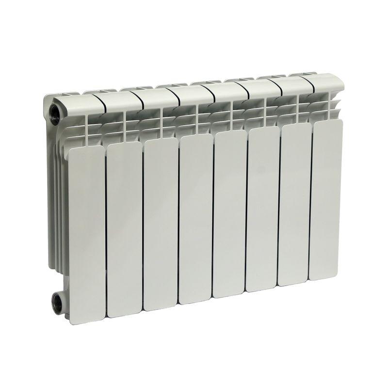 Радиатор алюминиевый RIFAR Alum 350 8 секций VLРадиатор алюминиевый RIFAR Alum 350-8 VL<br><br>Литой алюминиевый радиатор на 8 секций для использования в отопительных системах зданий. Использует нижний левый тип подключения.<br><br>НАЗНАЧЕНИЕ<br><br>Отопление помещений с влажностью не выше 75%;<br><br>Подходит для теплоносителя с водородным показателем 7-8 pH;<br><br>Установка в системе отопления многоквартирного дома со строгим контролем её работы и состава воды;<br><br>Установка в зданиях с автономной системой отопления (жилые дома, коттеджи, гаражи);<br><br>Проведение системы отопления с нуля;<br><br>Замена старых радиаторов.<br><br>ПРЕИМУЩЕСТВА<br><br>Высокое рабочее давление (20 атм ~ 2 МПа);<br><br>Секции малого объема (0.19 л) при тепловой мощности 1112 Вт;<br><br>Вес 9,6 кг - легкий, удобно при монтаже;<br><br>Возможно использование с водой, маслом или антифризом в качестве теплоносителя;<br><br>Продукт прошел сертификацию САНРОС (орган по сертификации отопительного оборудования);<br><br>Простота монтажа (возможность самостоятельной установки);<br><br>Надежность - модель прошла испытания на герметичность, проведенные при давлении 30 атм;<br><br>Сечение вертикального канала разработано с учетом наименьшего гидравлического соединения, что обеспечивает высокую скорость теплоносителя;<br><br>Максимальный допустимый нагрев теплоносителя - 135 градусов;<br><br>Долговечный (литая конструкция, алюминиевые секции, герметичные соединения, срок службы при соблюдении требований и рекомендаций - от 25 лет).<br><br>РЕКОМЕНДАЦИИ<br><br>Во время транспортировки возможно ослабление ниппельных соединений. Перед установкой проверить их и подтянуть при необходимости;<br><br>Проводить установку только после достижения радиатором комнатной температуры естественным образом, без прямого воздействия нагревательных приборов;<br><br>Подключать радиатор к пластиковым трубам, так как на металлических алюминий вызовет появление коррозии;<br><br>Для эффективного обогрева расстояние от рад