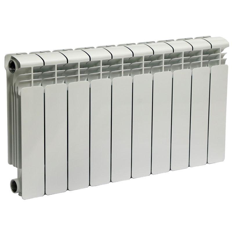 Радиатор алюминиевый RIFAR Alum 350 10 секций VLРадиатор алюминиевый RIFAR Alum 350-10 VL<br><br>Литой алюминиевый радиатор на 10 секций для использования в отопительных системах зданий. Использует нижний левый тип подключения.<br><br>НАЗНАЧЕНИЕ<br><br>Отопление помещений с влажностью не выше 75%;<br><br>Подходит для теплоносителя с водородным показателем 7-8 pH;<br><br>Установка в системе отопления многоквартирного дома со строгим контролем её работы и состава воды;<br><br>Установка в зданиях с автономной системой отопления (жилые дома, коттеджи, гаражи);<br><br>Проведение системы отопления с нуля;<br><br>Замена старых радиаторов.<br><br>ПРЕИМУЩЕСТВА<br><br>Высокое рабочее давление (20 атм ~ 2 МПа);<br><br>Секции малого объема (0.19 л) при тепловой мощности 1390 Вт;<br><br>Вес 12 кг - легкий, удобно при монтаже;<br><br>Возможно использование с водой, маслом или антифризом в качестве теплоносителя;<br><br>Продукт прошел сертификацию САНРОС (орган по сертификации отопительного оборудования);<br><br>Простота монтажа (возможность самостоятельной установки);<br><br>Надежность - модель прошла испытания на герметичность, проведенные при давлении 30 атм;<br><br>Сечение вертикального канала разработано с учетом наименьшего гидравлического соединения, что обеспечивает высокую скорость теплоносителя;<br><br>Максимальный допустимый нагрев теплоносителя - 135 градусов;<br><br>Долговечный (литая конструкция, алюминиевые секции, герметичные соединения, срок службы при соблюдении требований и рекомендаций - от 25 лет).<br><br>РЕКОМЕНДАЦИИ<br><br>Во время транспортировки возможно ослабление ниппельных соединений. Перед установкой проверить их и подтянуть при необходимости;<br><br>Проводить установку только после достижения радиатором комнатной температуры естественным образом, без прямого воздействия нагревательных приборов;<br><br>Подключать радиатор к пластиковым трубам, так как на металлических алюминий вызовет появление коррозии;<br><br>Для эффективного обогрева расстояние от р