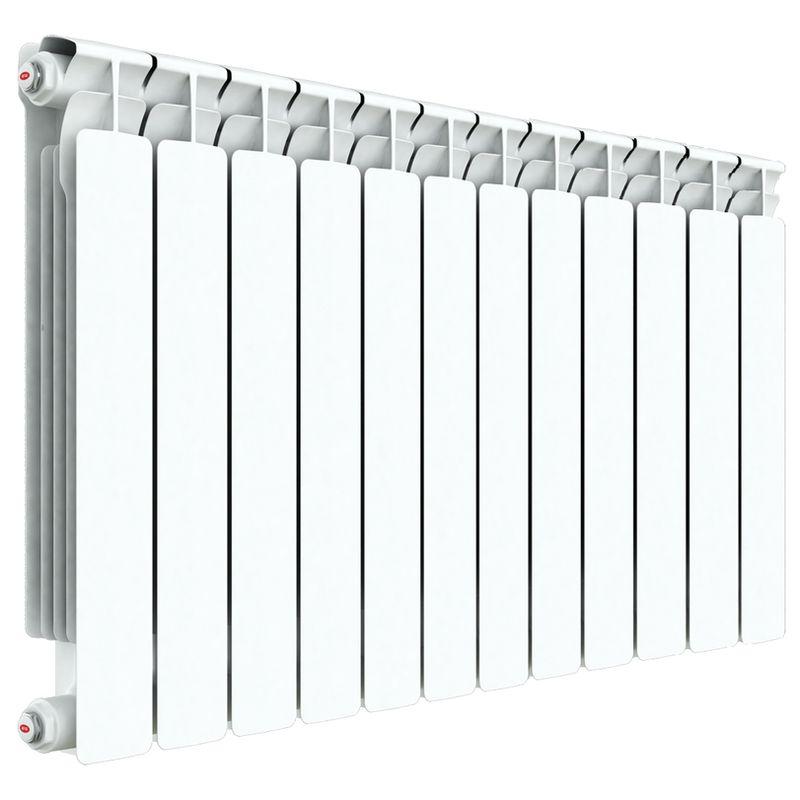 Радиатор алюминиевый RIFAR Alum 500 12 секцийРадиатор алюминиевый RIFAR Alum 500-12<br><br>Литой алюминиевый радиатор на 12 секций для использования в отопительных системах зданий. Использует нижний тип подключения.<br><br>НАЗНАЧЕНИЕ<br><br>Отопление помещений с влажностью не выше 75%;<br><br>Подходит для теплоносителя с водородным показателем 7-8 pH;<br><br>Установка в системе отопления многоквартирного дома со строгим контролем её работы и состава воды;<br><br>Установка в зданиях с автономной системой отопления (жилые дома, коттеджи, гаражи);<br><br>Проведение системы отопления с нуля;<br><br>Замена старых радиаторов.<br><br>ПРЕИМУЩЕСТВА<br><br>Высокое рабочее давление (20 атм ~ 2 МПа);<br><br>Секции относительно небольшого объема (0.27 л) при тепловой мощности 2196 Вт;<br><br>Вес 17,4 кг - легкий, удобно при монтаже;<br><br>Возможно использование с водой, маслом или антифризом в качестве теплоносителя;<br><br>Продукт прошел сертификацию САНРОС (орган по сертификации отопительного оборудования);<br><br>Простота монтажа (возможность самостоятельной установки);<br><br>Надежность - модель прошла испытания на герметичность, проведенные при давлении 30 атм;<br><br>Сечение вертикального канала разработано с учетом наименьшего гидравлического соединения, что обеспечивает высокую скорость теплоносителя;<br><br>Максимальный допустимый нагрев теплоносителя - 135 градусов;<br><br>Долговечный (литая конструкция, алюминиевые секции, герметичные соединения, срок службы при соблюдении требований и рекомендаций - от 25 лет).<br><br>РЕКОМЕНДАЦИИ<br><br>Во время транспортировки возможно ослабление ниппельных соединений. Перед установкой проверить их и подтянуть при необходимости;<br><br>Проводить установку только после достижения радиатором комнатной температуры естественным образом, без прямого воздействия нагревательных приборов;<br><br>Подключать радиатор к пластиковым трубам, так как на металлических алюминий вызовет появление коррозии;<br><br>Для эффективного обогрева расстоян