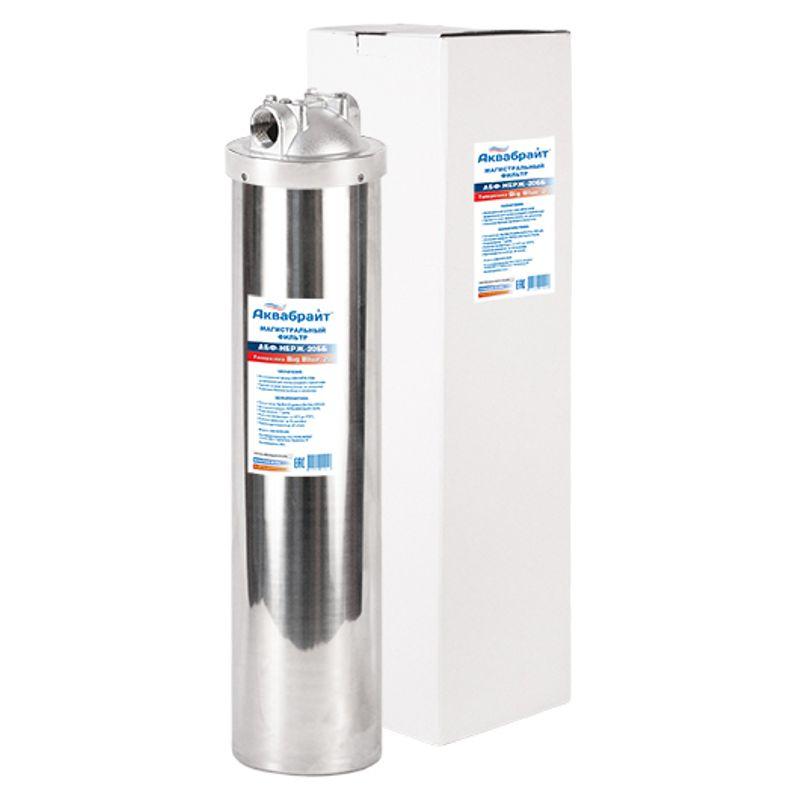 Фильтр магистральный ВВ из нержавеющей стали 20, 1 Аквабрайт (кронштейн, ключ, +90С, 8Атм.)