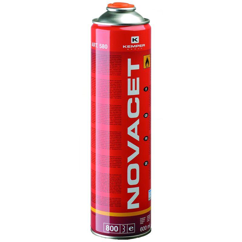 Баллон с газом KEMPER 580 NOVACET<br>Бренд: KEMPER; Модель: Novacet; Код производителя: 580; Назначение: Для паяльных ламп; Соединение: Резьбовое; Тип баллона: Одноразовый; Состав газа: Смесь бутан 65% , пропадиен 25% пропан 10%; Резьба: 7/16 ; Объем баллона: 800 мл; Температура пламени: 2200 °С; Температура пламени с использованием кислорода: 3100 °С; Родина бренда: Италия; Страна производитель: Италия; Вес: 0,400 кг;