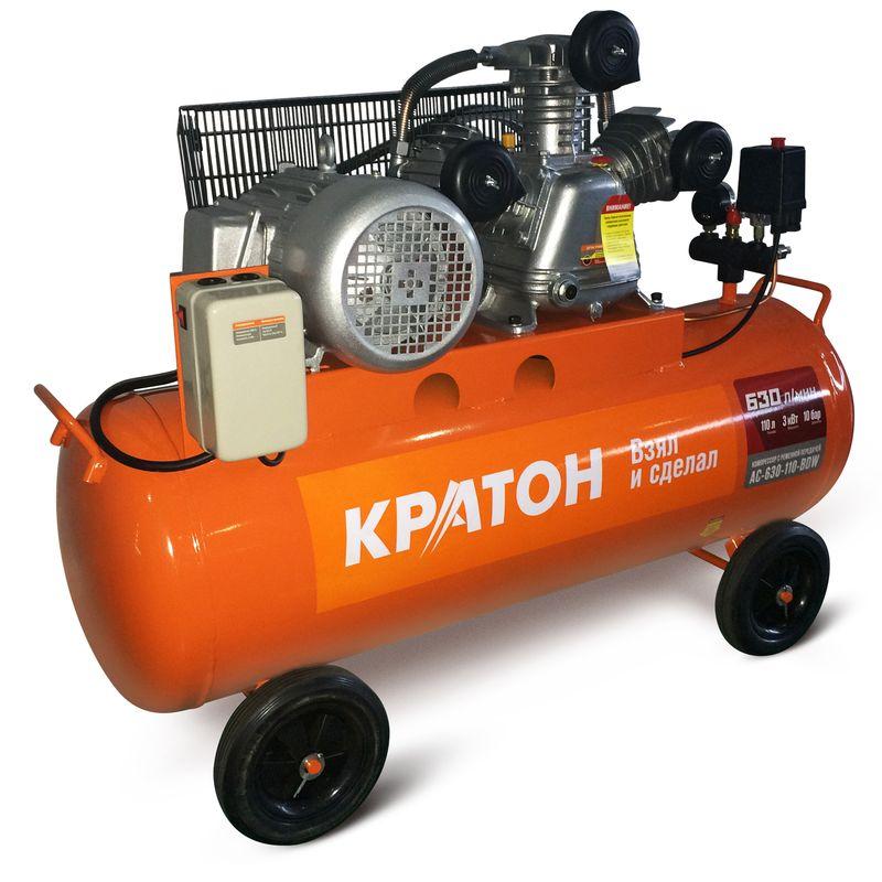 Компрессор с ременной передачей Кратон AC-630-110-BDW<br>Бренд: Кратон; Тип: Поршневой; Принцип действия: Объемный; Область применения: Общего применения; Мощность: 3 КВт; Производительность: 630 л/мин; Количество цилиндров: 3 шт.; Особенности: Транспортировачные колеса; Охлаждение: Воздушное; Напряжение: 380 В; Давление на выходе: 1 МПа; Объем ресивера: 110 л; Питание: От сети; Приводной механизм: Электродвигатель; Тип смазки: Масляный; Тип манометра: Стрелочный; Частота: 50 Гц; Длина: 1060 мм; Ширина: 450 мм; Высота: 850 мм; Мобильность: Передвижной; Вес: 104 кг;