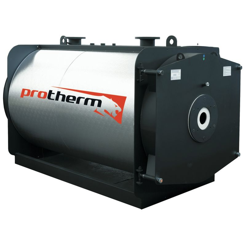 Котел напольный на газовом / дизельном топливе Protherm БИЗОН NO 510 (0010003644)Комбинированный котел отопления Protherm Бизон NO 510 (0010003644)<br><br>Напольный одноконтурный отопительный котел тепловой мощностью 510 кВт, работающий на дизеле, природном или сжиженном газе, со стальным трехходовым теплообменником, закрытой камерой сгорания, вентиляторной горелкой (комплектуется отдельно), для закрытых отопительных систем и горячего водоснабжения (при установке бойлера косвенного нагрева), для использования в жилых и промышленных помещениях площадью до 5100 кв.м.<br><br>НАЗНАЧЕНИЕ:<br><br>Применение в отопительных системах с закрытой циркуляцией теплоносителя;<br><br>Использования для горячего водоснабжения (при подключении бойлера);<br><br>Организация котельных станций центрального отопления большой мощности;<br><br>ПРЕИМУЩЕСТВА:<br><br>Универсальность: может работать на природном или сжиженном газе, дизеле или мазуте;<br><br>Многофункциональность: применяется для систем отопления и горячего водоснабжения;<br><br>Может быть частью системы отопления, состоящей из нескольких котлов: каскадное подключение котлов общей тепловой мощностью свыше 10 МВт с помощью интеллектуального регулятора (комплектуется дополнительно);<br><br>Высокий КПД 92% и низкое количество вредных веществ в продуктах сгорания достигается благодаря конструкции теплообменника, вентиляторной горелке (не входит в комплект) и закрытой камере внутреннего сгорания с тремя дымоходами;<br><br>Корпус котла покрыт изоляционным материалом и стальным кожухом, которые снижают теплопотери и увеличивают КПД;<br><br>Долговечный прямоугольный стальной корпус с двухсторонним сварным швом;<br><br>Экономичный расход топлива и оптимальное регулирование мощности обеспечивается благодаря двум термостатам: один ограничивает максимальную температуру отапливающей воды в системе, другой определяет диапазон, когда котел переключается на более низкую мощность;<br><br>Безопасность эксплуатации: аварийный термостат;<br><br>Фун