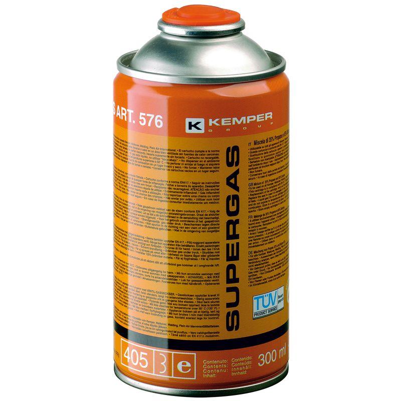 Баллон с газом KEMPER 576 SUPERGAS(резьб. бал, 300мл/175гр,Бутан70/Пропан30%, темп 1900/2850С)<br>Бренд: Kemper; Модель: 576; Код производителя: 576; Назначение: Для газовых горелок; Соединение: Резьбовое; Тип баллона: Одноразовый; Состав газа: Смесь бутан 70% и пропан 30%; Резьба: 7/16 ; Объем баллона: 405 мл; Температура пламени: 1900 °С; Температура пламени с использованием кислорода: 2850 °С; Родина бренда: Италия; Страна производитель: Италия; Вес: 0.175 кг;