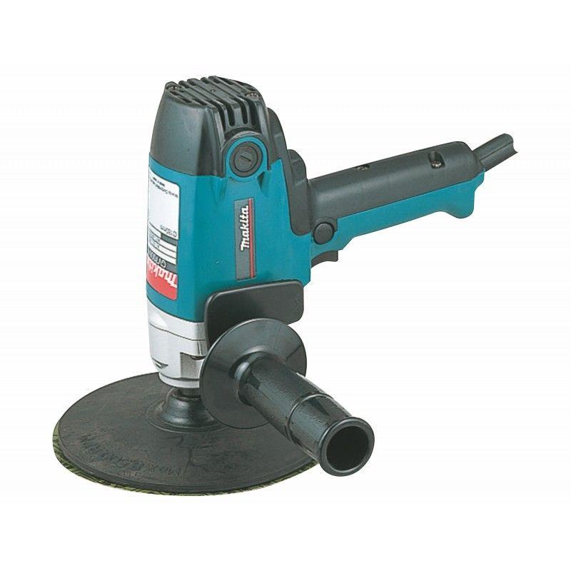 Полировальная машина MAKITA GV7000CПолировальная машина MAKITA GV7000C<br><br>Профессиональная шлифовальная машина для полировки поверхностей.<br><br>НАЗНАЧЕНИЕ:<br><br>Полировка каменных, металлических, деревянных и прочих поверхностей;&amp;nbsp;&amp;nbsp;<br><br>Удаления лакокрасочного покрытия, небольших повреждений, царапин, неровностей.<br><br>ПРЕИМУЩЕСТВА:<br><br>Высокая производительность (мощность двигателя &amp;ndash; 900 Вт, скорость вращения &amp;ndash; до 2000 об/мин., при нагрузке сохраняется до 90% заявленной мощности, число оборотов регулируется при помощи встроенной электроники);<br><br>Долговечность (системы пылезащиты и воздушного охлаждения двигателя, отсутствие ударных нагрузок на механизмы за счет плавного увеличения оборотов; литой алюминиевый корпус);<br><br>Удобство в использовании (быстрая замена шлифлистов без дополнительного оборудования благодаря креплению на липучке; легкая замена угольных щеток; фиксация пускового выключателя для длительной работы; постепенное увеличение оборотов при включении; две рукоятки, дополнительная рукоятка устанавливается под правый и левый хват).<br><br>РЕКОМЕНДАЦИИ<br><br>Общие рекомендации:<br><br>При работе используйте средства индивидуальной защиты (перчатки, очки, наушники);<br><br>Не переносите и не тяните машину за силовой шнур;<br><br>Следите за тем, чтобы детали были в рабочем состоянии, а крепления правильно соединены.<br><br>Рекомендации по работе:<br><br>Перед включением инструмента убедитесь, что вы крепко его держите вне контакта с рабочей поверхностью;<br><br>Действия с инструментом выполняйте с выключенным питанием;<br><br>Не рекомендуется работать в присутствии посторонних лиц, детей и животных;<br><br>Рекомендуется очистить инструмент от пыли после использования.<br><br>Рекомендации по хранению:<br><br>Неиспользуемый инструмент храните в сухом и недоступном месте для детей и посторонних людей.<br><br>МЕРЫ ПРЕДОСТОРОЖНОСТИ<br><br>Не оставляйте машину с работающим двигателем без присмотра;<br><
