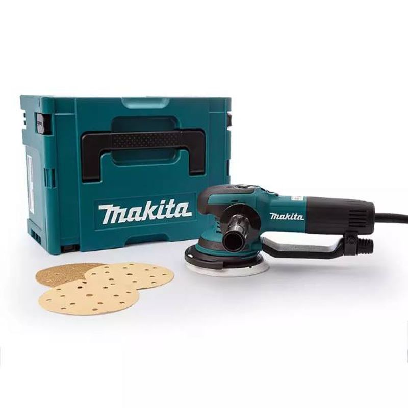 Шлифмашина эксцентриковая MAKITA BO6050JЭксцентриковая шлифовальная машина MAKITA BO6050J<br><br>Шлифовальный инструмент мощностью 750 Вт, с диаметром шлифовальной тарелки 150 мм, с диапазоном колебаний 5,5 мм,<br><br>двойной изоляцией, системой стабилизации и быстрым пуском, боковой рукояткой, шлифовальным диском диаметром 150 мм,<br><br>листом&amp;nbsp;шлифбумаги, тканевым мешком для сбора пыли, кейсом для хранения и шестигранным ключом в комплекте,<br><br>для шлифовки прямых и криволинейных деревянных, пластиковых, металлических и окрашенных поверхностей большой площади.<br><br>НАЗНАЧЕНИЕ:<br><br>Полировка и сухое осторожное шлифование, в том числе выпуклых поверхностей (с помощью мягкой шлифовальной тарелки);<br>Сухие шлифовальные работы по поверхностям из дерева, металла, пластика, а также окрашенных материалов (с помощью шлифовальной тарелки средней жесткости);<br>Высокая производительность на плоских площадках (с помощью твердой шлифовальной тарелки);<br>Нанесение на поверхность специальных паст и восков (с использованием поролоновых, фетровых или овчинных насадок).<br><br>ПРЕИМУЩЕСТВА:<br><br>Универсальное применение благодаря двум режимам работы: вращение с вибрацией (для грубой обработки поверхности) и свободное вращение (для конечной обработки);<br>Регулировка скорости в 5 режимах (1.600 &amp;ndash; 6.800 об/мин) для разных видов работ: полирования, финишного и грубого шлифования;<br>Сочетание мощности двигателя 750 Вт и большой амплитуды колебаний 5,5 мм обеспечивает выполнение сложных задач;<br>Система стабилизации обеспечивает постоянную производительность даже при нагрузках;<br>Мягкий пуск исключает рывки при начале работы;<br><br>Удобство использования:<br><br>- компактный размер, малый вес &amp;ndash; 2,6 кг,<br>- блокировка клавиши пуск для продолжительных работ;<br>- эргономичная основная рукоятка, выемка на корпусе и дополнительная боковая рукоятка регулируемая для работы двумя руками (возможность работать правой и левой рукой),<br>- хорошая сбал