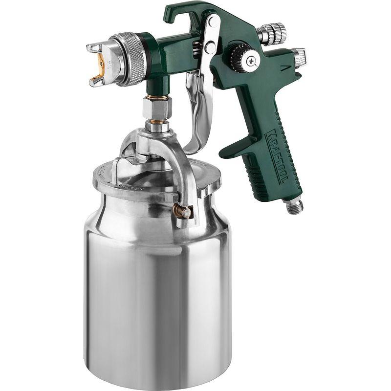Краскопульт пневматический KRAFTOOL AirKraft, HVLP, с нижним бачком, 1,4мм<br>Бренд: Kraftool; Модель: Airkraft; Расположение бачка: Снизу; Тип соединения: Рапид (EURO); Диаметр сопла: 1,4 мм; Размер входного штуцера: 1/4 дюйма; Объем бачка: 1 л; Способ распыления краски: HVLP (низкое давление, высокий объем); Рабочее давление: 3-4 атм; Расход воздуха: 170-280 л/мин; Особые свойства: Регулировка формы факела; Особые свойства: Регулировка хода курка; Комплектация: Бачок для ЛКМ; Комплектация: Переходник; Комплектация: Инструмент; Комплектация: Краскопульт; Вес: 1,14 кг;