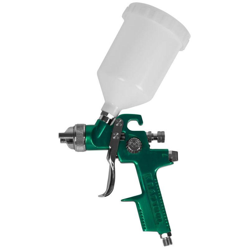Пистолет KRAFTOOL EXPERT QUALITAT краскораспылительный с верхним бачком 600мл, расход воздуха 260-300л/мин, 1,4мм<br>Бренд: Kraftool; Модель: Expert qualitat; Расположение бачка: Сверху; Тип соединения: Резьбовое; Диаметр сопла: 1,4 мм; Размер входного штуцера: 1/4 дюйма; Объем бачка: 0,6 л; Способ распыления краски: HVLP (низкое давление, высокий объем); Рабочее давление: 3-4 атм; Расход воздуха: 260-300 л/мин; Особые свойства: Регулировка хода курка; Особые свойства: Регулировка формы факела; Комплектация: Фильтр для ЛКМ; Комплектация: Переходник; Комплектация: Бачок для ЛКМ; Комплектация: Краскопульт; Комплектация: Инструмент; Вес: 0,9 кг;