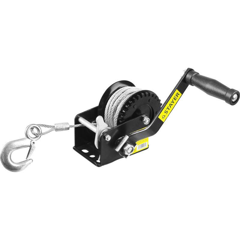 Лебедка ручная барабанная STAYER MASTER, тяговая, тросовая, 0,45т, 8м<br>Вид: Барабанная; Бренд: Stayer; Модель: Master; Усилие: Тяговое усилие 0,5 т т; Длина троса: 8 м; Габариты: 215х125х160; Вес: 2500 кг;