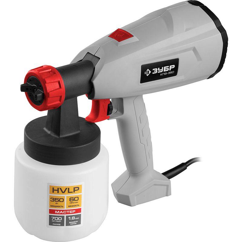 Краскопульт электрический ЗУБР МАСТЕР КПЭ-350<br>Бренд: Зубр; Мощность: 350 Вт; Тип: Компрессорный; Максимальная вязкость краски: 60 din/сек Din; Диаметр сопла: 1.8 мм; Объем бака: 0.8 л; Способ распыления краски: HVLP (низкое давление, высокий объем); Комплектация: Краскопульт - 1 шт. стакан для измерения вязкости - 1 шт. руководство по эксплуатации - 1 экз.;
