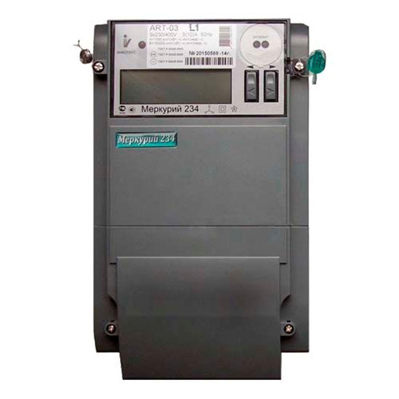 Счетчик электроэнергии трехфазный многотарифный Меркурий 234 ARTM-01 POB.L2 5/60А кл1/2 230/400В ЖКИ<br>