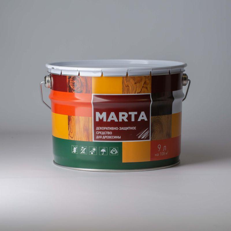 Декоративно-защитное средство для дерева MARTA, сосна, 9л<br><br>Пропитка для дерева Marta сосна., 9 л<br>Бренд: Marta; Название: Для дерева; Объем: 9 л; Состав: Алкидная; Цвет производителя: Сосна; Особые свойства: Антиплесень; Особые свойства: Биозащита; Особые свойства: Антисептик; Особые свойства: Влагозащита; Расход для пиленой древесины: 5-8 м?/л; Расход для строганой древесины: 8-12 м?/л; Тип работ: Для внутренних работ; Тип работ: Для наружных работ;