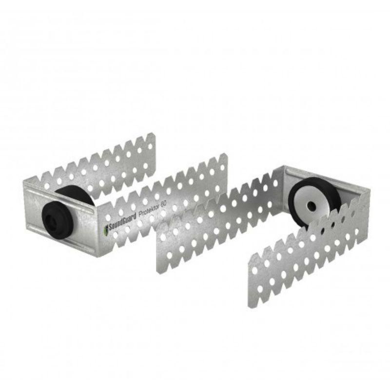 Виброподвес универсальный SoundGuard Protektor S (с ограничителем) относ до 135 мм<br>Название: Protektor S; Материал: Оцинкованная сталь; Материал: Резина; Область применения: Потолок; Область применения: Стена; Толщина металла: 1 мм; Размер: 60х30х130 мм; Расход для конструкции потолка: 3,5 на м?; Расход для конструкции стены: 2,2 на м?; Диапазон нагрузок: 25 кг; Максимальная нагрузка при монтаже на потолок: 15 кг; Максимальная нагрузка при монтаже на стену: 25 кг; Количество в упаковке: 60 шт; Бренд: SoundGuard;