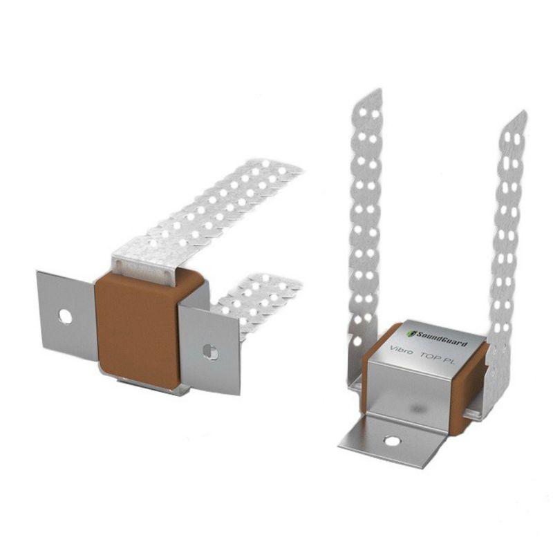 Виброподвес универсальный SoundGuard Vibro PL относ от 15 до 135 мм<br>Название: Vibro PL; Материал: Каучуковый эластомер; Материал: Оцинкованная сталь; Область применения: Потолок; Область применения: Стена; Толщина металла: 1 мм; Размер: 135х60х100 мм; Расход для конструкции потолка: 2,8 на м?; Расход для конструкции стены: 2,2 на м?; Диапазон нагрузок: До 25 кг; Максимальная нагрузка при монтаже на потолок: 15 кг; Максимальная нагрузка при монтаже на стену: 25 кг; Количество в упаковке: 40 шт; Бренд: SoundGuard;