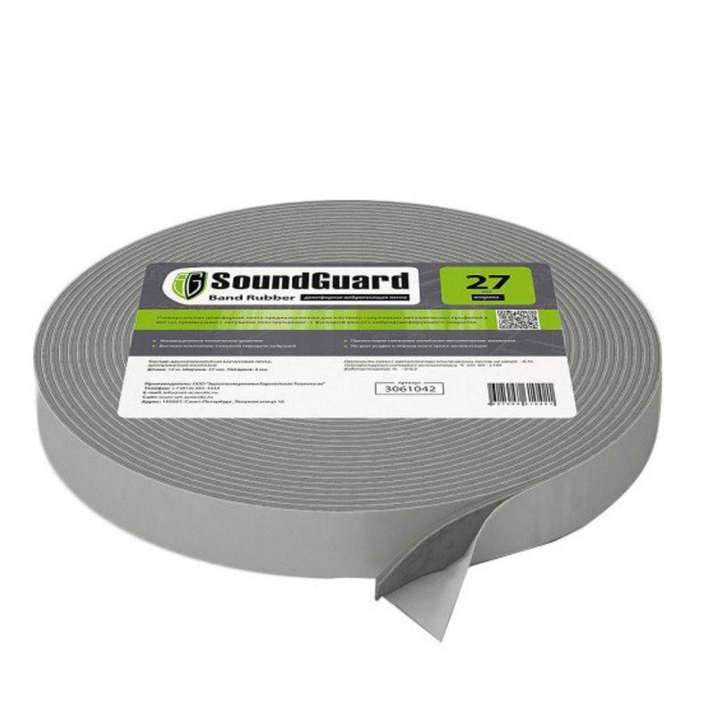 Демпферная виброгасящая лента SoundGuard Band Rubber 12000х27х4 ммДемпферная&amp;nbsp;виброгасящая&amp;nbsp;лента&amp;nbsp;SoundGuard&amp;nbsp;Band&amp;nbsp;Rubber&amp;nbsp;27&amp;nbsp;мм<br><br>Самоклеящаяся&amp;nbsp;лента&amp;nbsp;для&amp;nbsp;гашения&amp;nbsp;вибрации&amp;nbsp;каркасно-обшивных&amp;nbsp;конструкций,&amp;nbsp;<br><br>применяется&amp;nbsp;для&amp;nbsp;проклейки&amp;nbsp;профиля&amp;nbsp;в&amp;nbsp;местах&amp;nbsp;соединения&amp;nbsp;со&amp;nbsp;стенами,&amp;nbsp;полом&amp;nbsp;и&amp;nbsp;потолком.<br><br>НАЗНАЧЕНИЕ:<br><br>Уменьшение&amp;nbsp;вибрации&amp;nbsp;строительных&amp;nbsp;конструкций;<br>Проклейка&amp;nbsp;профиля&amp;nbsp;в&amp;nbsp;звукоизолирующих&amp;nbsp;системах.<br><br>ПРЕИМУЩЕСТВА:<br><br>Экологически&amp;nbsp;безопасный&amp;nbsp;состав:&amp;nbsp;каучук&amp;nbsp;и&amp;nbsp;вспененный&amp;nbsp;полиэтилен;<br>Без&amp;nbsp;запаха&amp;nbsp;(может&amp;nbsp;использоваться&amp;nbsp;внутри&amp;nbsp;помещений);<br>Долговечность,&amp;nbsp;устойчивость&amp;nbsp;к&amp;nbsp;атмосферным&amp;nbsp;воздействиям;<br>Выдерживает&amp;nbsp;температурные&amp;nbsp;колебания&amp;nbsp;от&amp;nbsp;-60&amp;nbsp;до&amp;nbsp;+90&amp;nbsp;градусов&amp;nbsp;без&amp;nbsp;потери&amp;nbsp;свойств;<br>Не&amp;nbsp;дает&amp;nbsp;усадку;<br>Имеет&amp;nbsp;минимальный&amp;nbsp;уровень&amp;nbsp;влагопоглощения.<br>Легкость&amp;nbsp;монтажа&amp;nbsp;(имеет&amp;nbsp;липкий&amp;nbsp;слой);<br>Защита&amp;nbsp;металла&amp;nbsp;от&amp;nbsp;коррозии&amp;nbsp;в&amp;nbsp;местах&amp;nbsp;контакта&amp;nbsp;ленты&amp;nbsp;с&amp;nbsp;профилем;<br>Уменьшает&amp;nbsp;теплопроводность&amp;nbsp;конструкций;<br>Повышает&amp;nbsp;уровень&amp;nbsp;звукоизоляции;<br>Компенсирует&amp;nbsp;температурные&amp;nbsp;расширения&amp;nbsp;стен,&amp;nbsp;пола,&amp;nbsp;потолка.<br><br>РЕКОМЕНДАЦИИ:<br><br>Рекомендации&amp;nbsp;по&amp;nbsp;монтажу:<br><br>Монтаж&amp;nbsp;ленты&amp;nbsp;производите&amp;nbsp;только&amp;nbsp;на&amp;nbsp;чистую&amp;nbsp;поверхность&amp;nbsp;профиля;<br>Для&amp;nbsp;максим