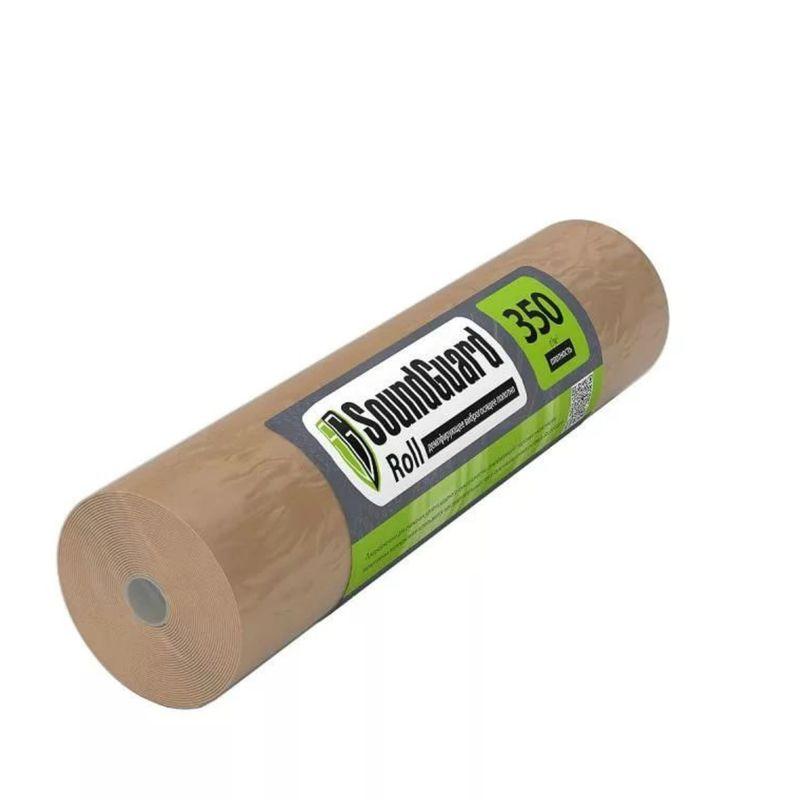 Демпферное полотно SoundGuard Roll 15000х1000х3,5ммДемпферная подложка SoundGuard Roll 15000х1000х3,5мм<br><br>Демпфирующее полотно для шумоизоляции междуэтажных перекрытий.<br><br>НАЗНАЧЕНИЕ:<br><br>Укладывается как подложка под ламинат;<br>Используется в качестве разделительного слоя в шумоизоляционных системах.<br><br>ПРЕИМУЩЕСТВА:<br><br>Экологически чистый материал (изготовлен из полиэфирного волока и джута);<br>Не токсичный, не имеет запаха, не вызывает аллергию;<br>Не подвержен образованию грибков и плесени;<br>Минимальный уровень влагопоглощения;<br>За счет толщины 3,5 мм, происходит сглаживание неровностей стяжки;<br>Имеет высокие показатели тепло- и звукоизоляции;<br>Высокая плотность и упругость материала обеспечивают хорошую амортизацию между стяжкой и напольным покрытием.<br><br>РЕКОМЕНДАЦИИ:<br><br>Рекомендации по укладке:<br><br>Укладывайте подложку только на сухую поверхность, очищенную от мусора и пыли, вплотную к стенам;<br>Стыки необходимо проклеить скотчем или фирменной лентой SoundGuard Tape, это позволит избежать сдвигов<br><br>при укладке напольного покрытия;<br>Дополнительное крепление подложки к полу не требуется;<br>Стыки на подложке и ламинате должны располагаться перпендикулярно друг другу.<br>Бренд: SoundGuard; Название: Roll; Тип помещения: Дом; Тип помещения: Квартира; Тип помещения: Коттедж; Источник шума: Стук каблуков; Источник шума: Прыжки детей; Источник шума: Топот; Источник шума: Падение тяжелых предметов; Область применения: Подложка под ламинат или паркет; Толщина: 3,5 мм; Ширина: 1000 мм; Длина: 15000 мм; Материал основания: Джут, полиэфирное волокно; Форма выпуска: Рулон; Индекс изоляции от ударного шума: 27 дБ; Коэффициент паропроницаемости: 0,6 Мг/(м*ч*Па); Коэффициент теплопроводности: 0,036 Вт/(м•°С); Плотность: 350 г/м?; Площадь в упаковке: 15 м?; Группа горючести: Г4;