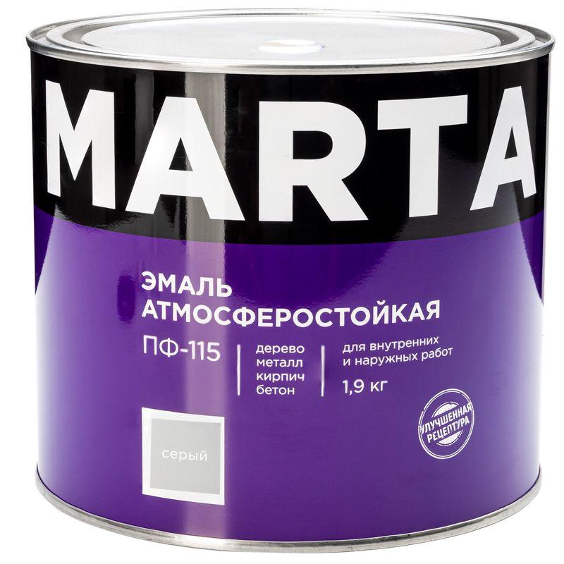 Эмаль ПФ-115 MARTA, серая, 1,9кг<br>Бренд: Marta; Название: ПФ-115; Маркировка: Пф-115; Цвет производителя: Серый; Состав: Алкидная; Объем: 2 л; Вес: 1,9 кг; Расход: 100-180 г/м?; Степень блеска: Глянцевая; Особые свойства: Высокая адгезия; Фактура: Гладкая; Тип поверхности: Дерево; Тип поверхности: Металл; Тип поверхности: Кирпич; Назначение: Для металла; Срок годности: 24 мес; Разбавитель: Сольвент; Разбавитель: Уайт-спирит; Способ нанесения: Кисть; Способ нанесения: Краскопульт; Тип работ: Для наружных работ; Время высыхания: До 24 часов; Минимальная температура эксплуатации: -60; Максимальная температура эксплуатации: 40; Минимальная температура хранения: -40; Максимальная температура хранения: 40; Цвет: Серый;