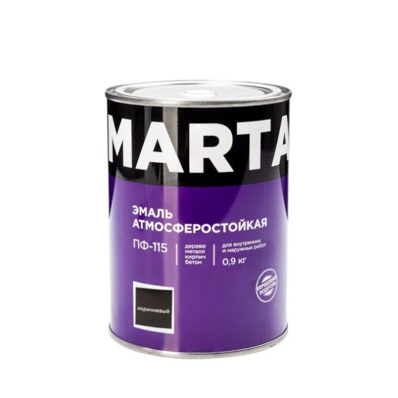Эмаль ПФ-115 MARTA, коричневая, 0,9кг<br>Бренд: Marta; Название: ПФ-115; Маркировка: Пф-115; Цвет производителя: Коричневый; Состав: Алкидная; Объем: 1 л; Вес: 0,9 кг; Расход: 100-180 г/м?; Степень блеска: Глянцевая; Особые свойства: Высокая адгезия; Фактура: Гладкая; Тип поверхности: Дерево; Тип поверхности: Кирпич; Тип поверхности: Металл; Назначение: Для металла; Срок годности: 24 мес; Разбавитель: Сольвент; Разбавитель: Уайт-спирит; Способ нанесения: Кисть; Способ нанесения: Краскопульт; Тип работ: Для наружных работ; Время высыхания: До 24 часов; Минимальная температура эксплуатации: -60; Максимальная температура эксплуатации: 40; Минимальная температура хранения: -40; Максимальная температура хранения: 40; Цвет: Коричневый;