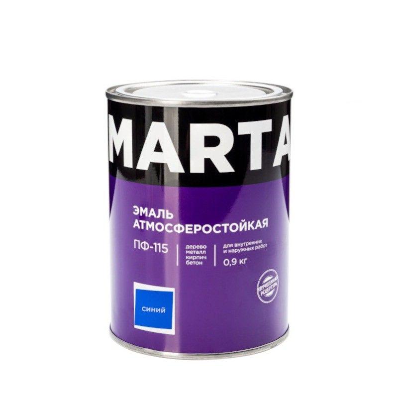 Эмаль ПФ-115 MARTA, синяя, 0,9кг<br>Бренд: Marta; Название: ПФ-115; Маркировка: Пф-115; Цвет производителя: Синий; Состав: Алкидная; Объем: 1 л; Вес: 0,9 кг; Расход: 100-180 г/м?; Степень блеска: Глянцевая; Особые свойства: Высокая адгезия; Фактура: Гладкая; Тип поверхности: Металл; Тип поверхности: Кирпич; Тип поверхности: Дерево; Назначение: Для металла; Срок годности: 24 мес; Разбавитель: Сольвент; Разбавитель: Уайт-спирит; Способ нанесения: Кисть; Способ нанесения: Краскопульт; Тип работ: Для наружных работ; Время высыхания: До 24 часов; Минимальная температура эксплуатации: -60; Максимальная температура эксплуатации: 40; Минимальная температура хранения: -40; Максимальная температура хранения: 40; Цвет: Синий;