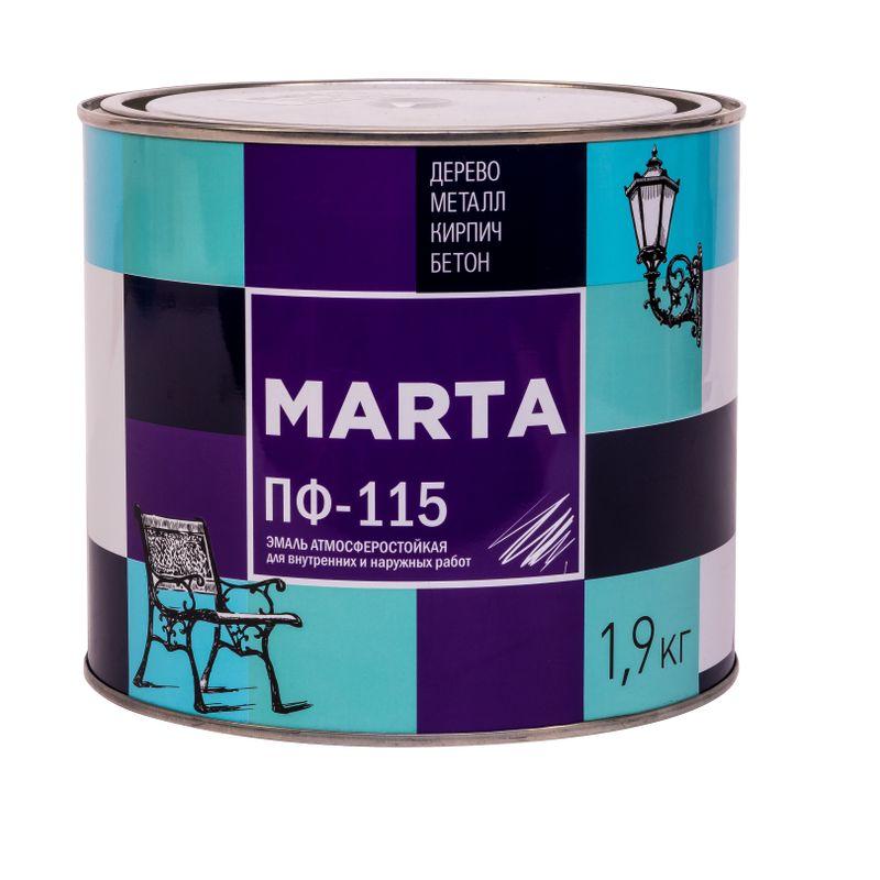 Эмаль ПФ-115 MARTA, голубая, 1,9кг<br>Бренд: Marta; Название: ПФ-115; Маркировка: Пф-115; Цвет производителя: Голубой; Состав: Алкидная; Объем: 2 л; Вес: 1,9 кг; Расход: 100-180 г/м?; Степень блеска: Глянцевая; Особые свойства: Высокая адгезия; Фактура: Гладкая; Тип поверхности: Кирпич; Тип поверхности: Металл; Тип поверхности: Дерево; Назначение: Для металла; Срок годности: 24 мес; Разбавитель: Сольвент; Разбавитель: Уайт-спирит; Способ нанесения: Кисть; Способ нанесения: Краскопульт; Тип работ: Для наружных работ; Время высыхания: До 24 часов; Минимальная температура эксплуатации: -60; Максимальная температура эксплуатации: 40; Минимальная температура хранения: -40; Максимальная температура хранения: 40; Цвет: Голубой;