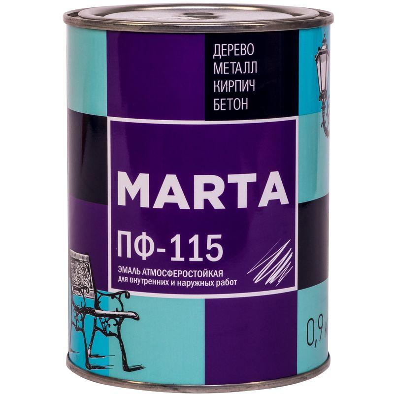 Эмаль ПФ-115 MARTA, защитная, 0,9кг<br>Бренд: Marta; Название: ПФ-115; Маркировка: Пф-115; Цвет производителя: Хаки; Состав: Алкидная; Объем: 1 л; Вес: 0,9 кг; Расход: 100-180 г/м?; Степень блеска: Глянцевая; Особые свойства: Высокая адгезия; Фактура: Гладкая; Тип поверхности: Кирпич; Тип поверхности: Металл; Тип поверхности: Дерево; Назначение: Для металла; Срок годности: 24 мес; Разбавитель: Сольвент; Разбавитель: Уайт-спирит; Способ нанесения: Кисть; Способ нанесения: Краскопульт; Тип работ: Для наружных работ; Время высыхания: До 24 часов; Минимальная температура эксплуатации: -60; Максимальная температура эксплуатации: 40; Минимальная температура хранения: -40; Максимальная температура хранения: 40;
