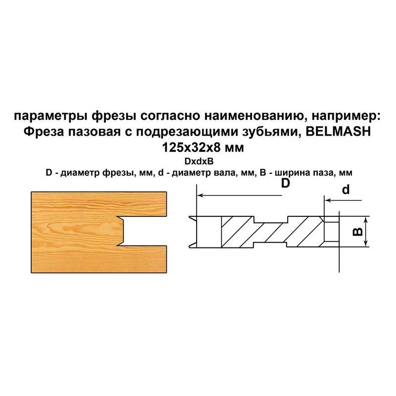 Фреза пазовая с подрезающими зубьями, БЕЛМАШ RF0031A 125х32х14 мм<br>Бренд: Belmash; Модель: RF0031A; Вид: Насадка; Форма: Пазовая; Материал: Твердый сплав; Рабочая высота: 46 мм; Длина: 125 мм; Внешний диаметр: 125 мм; Внутренний диаметр: 32 мм; Диаметр хвостовика: 32 мм; Обрабатываемый материал: Дерево; Количество в упаковке: 1 шт; Родина бренда: Беларусь; Страна производитель: Украина; Гарантия: Нет мес; Вес: 0,72 кг;